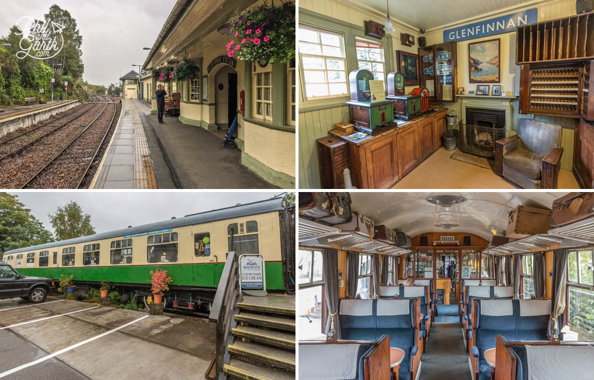 Glenfinnan Railyway Station and a converted railway carriage tearoom