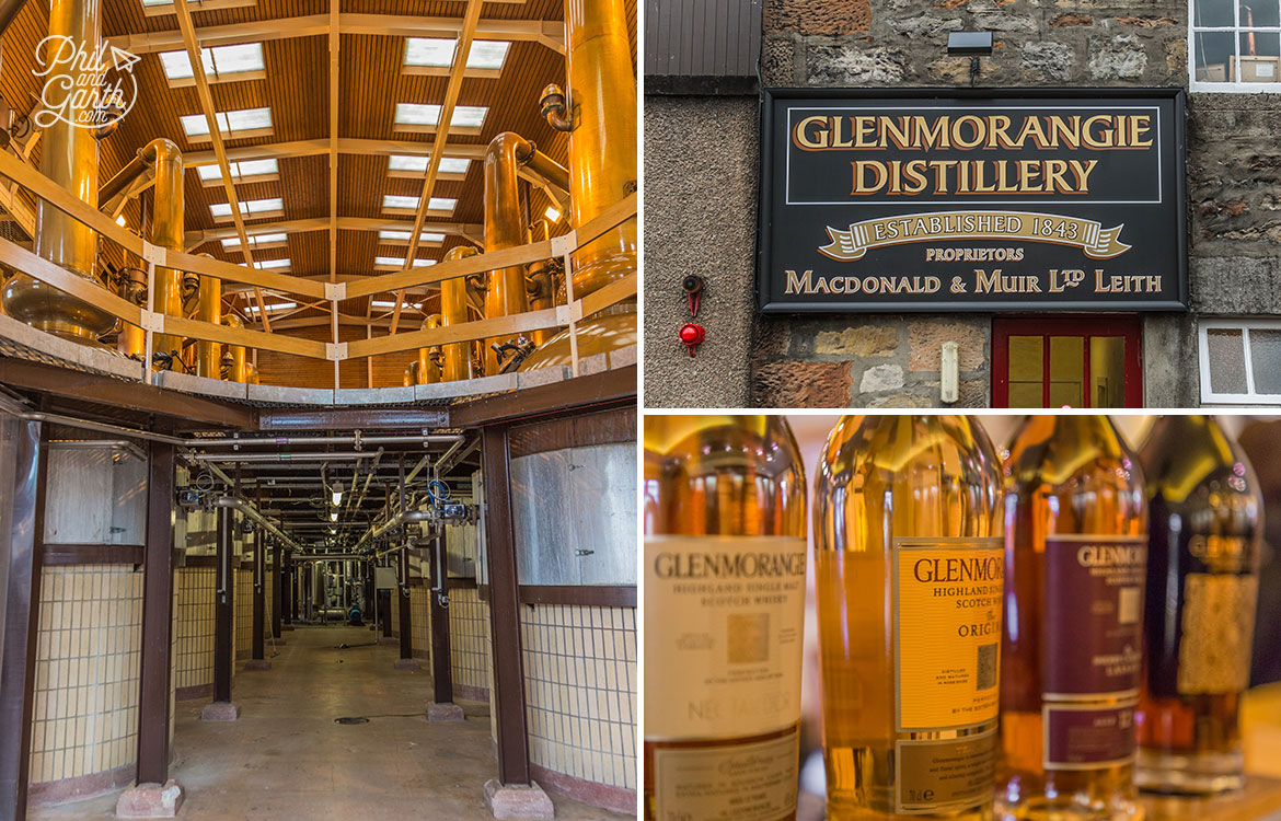 The Glenmorangie Distillery orange stills and various bottles of whiskies.