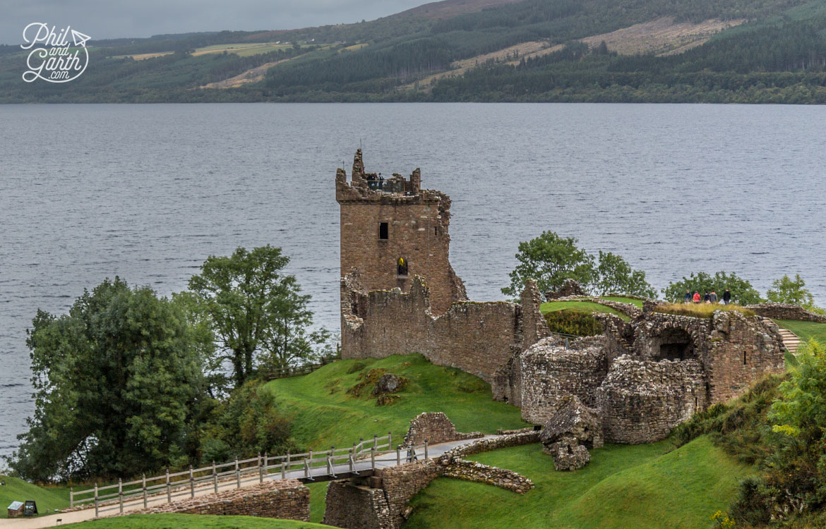 Urquhart Castle on the shore of Loch Ness, the visitor centre explains the castle's turbulent past.