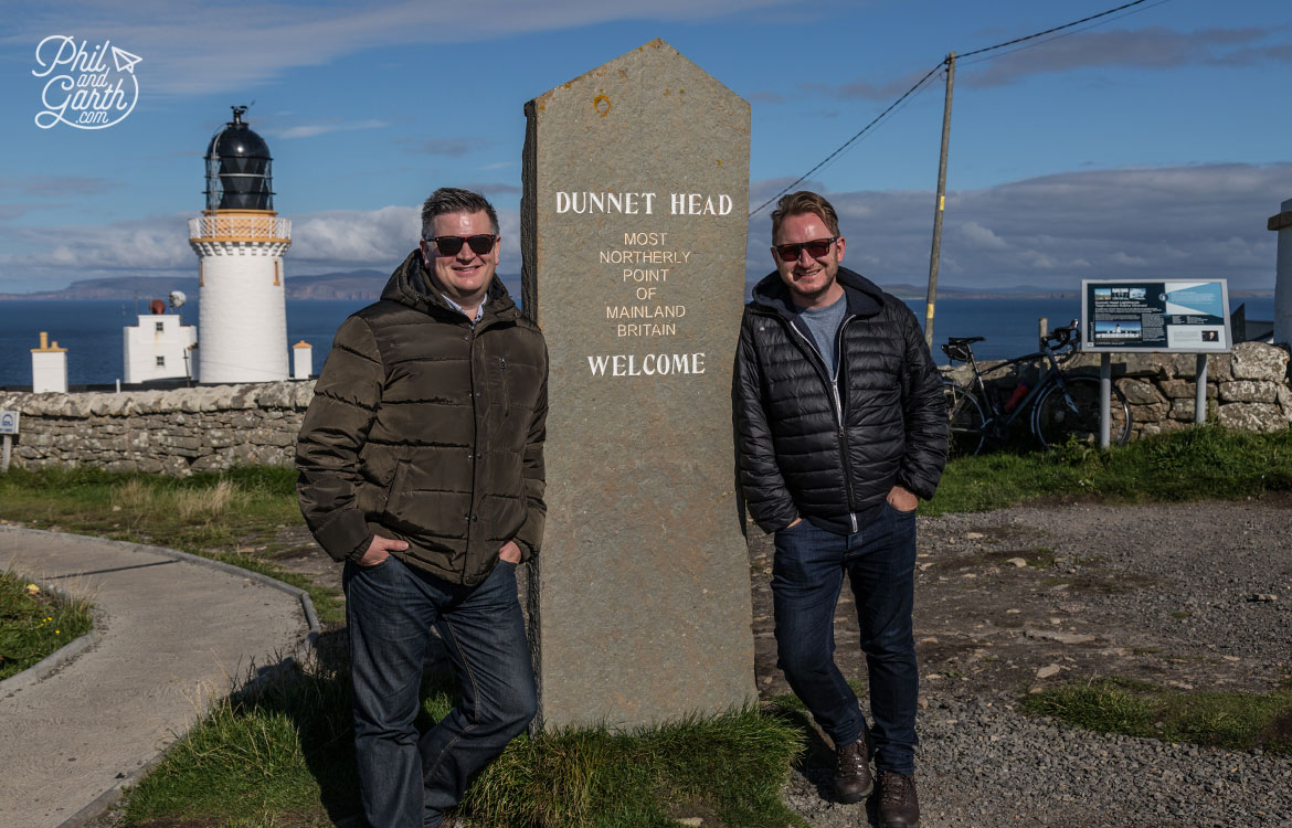 Scottish Highlands in 7 Days - Phil and Garth at Dunnet Head - the most northerly point of mainland Britain