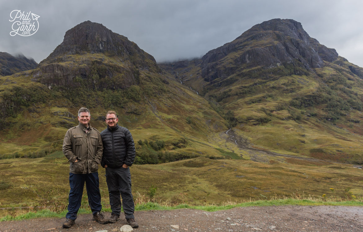 Phil and Garth at the Three Sisters viewpoint, Glen Coe