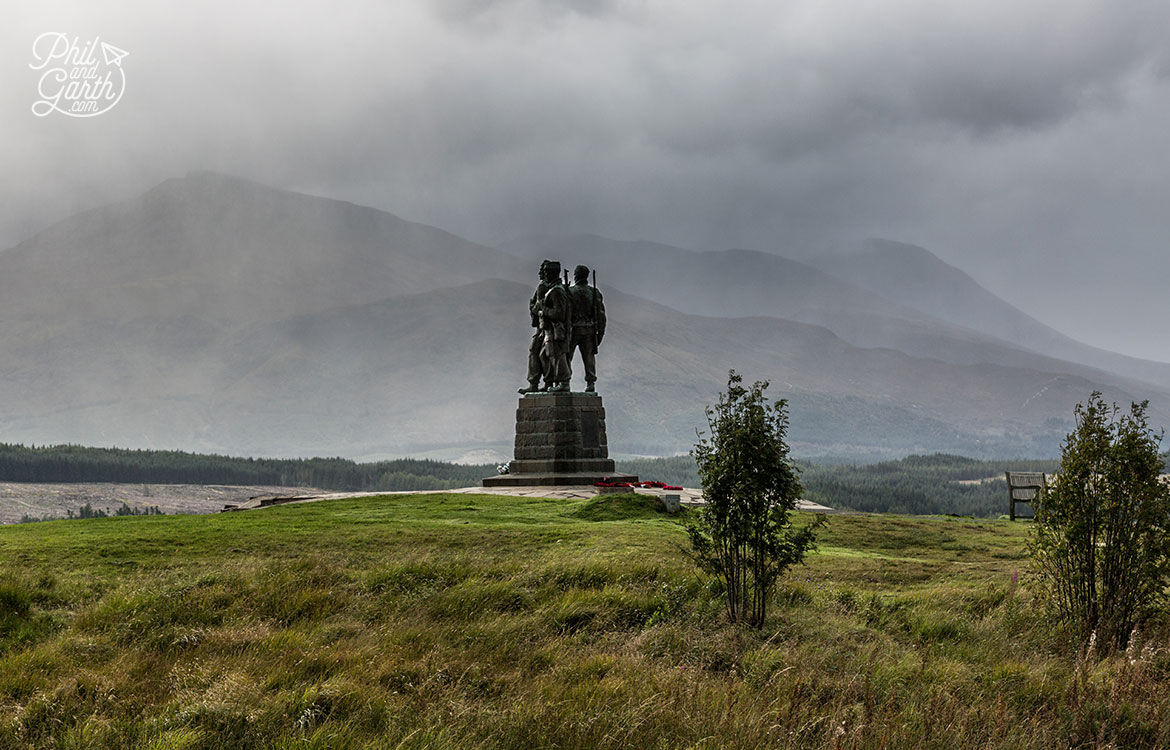 The Commando Memorial looking south to Ben Nevis in the right of the picture