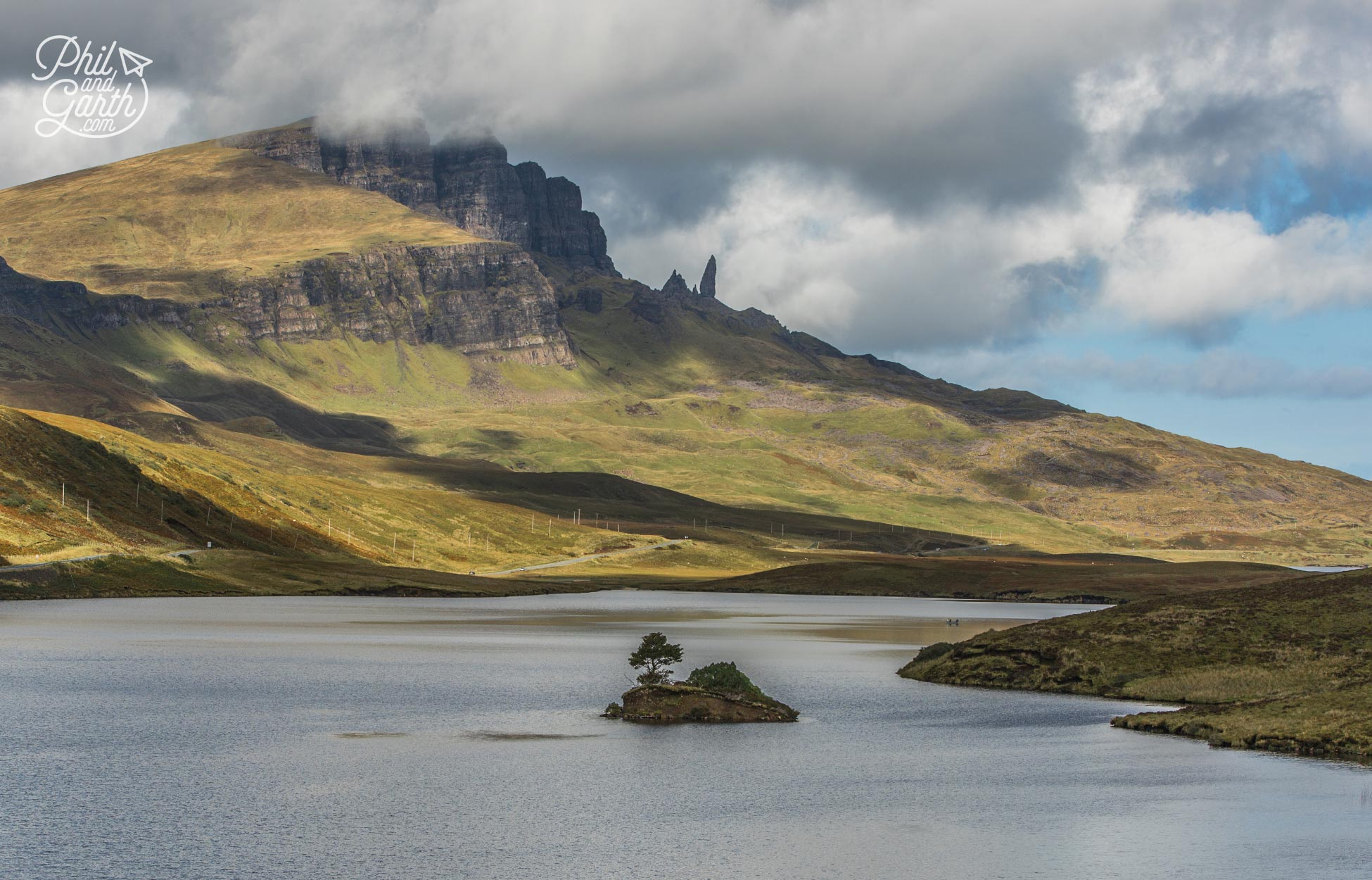 The view across Loch Lethan to the Old Man of Storr