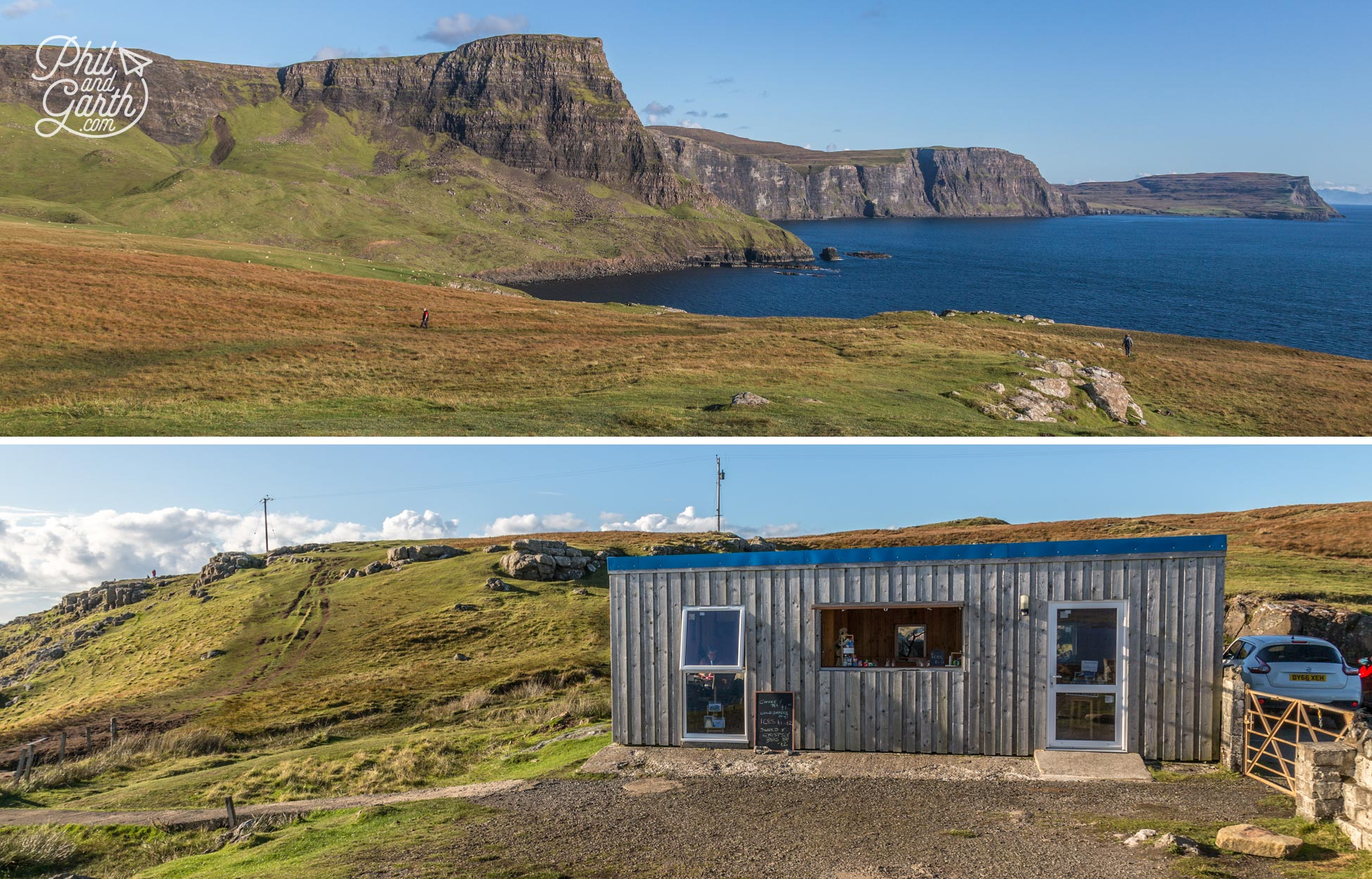 Scenic views and the cafe at Neist Point
