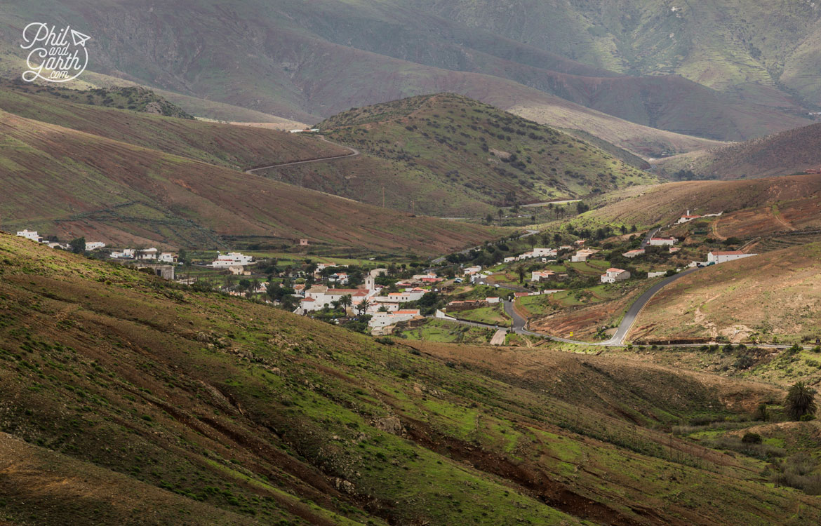 Betancuria situated in a mountainous region of Fuerteventura
