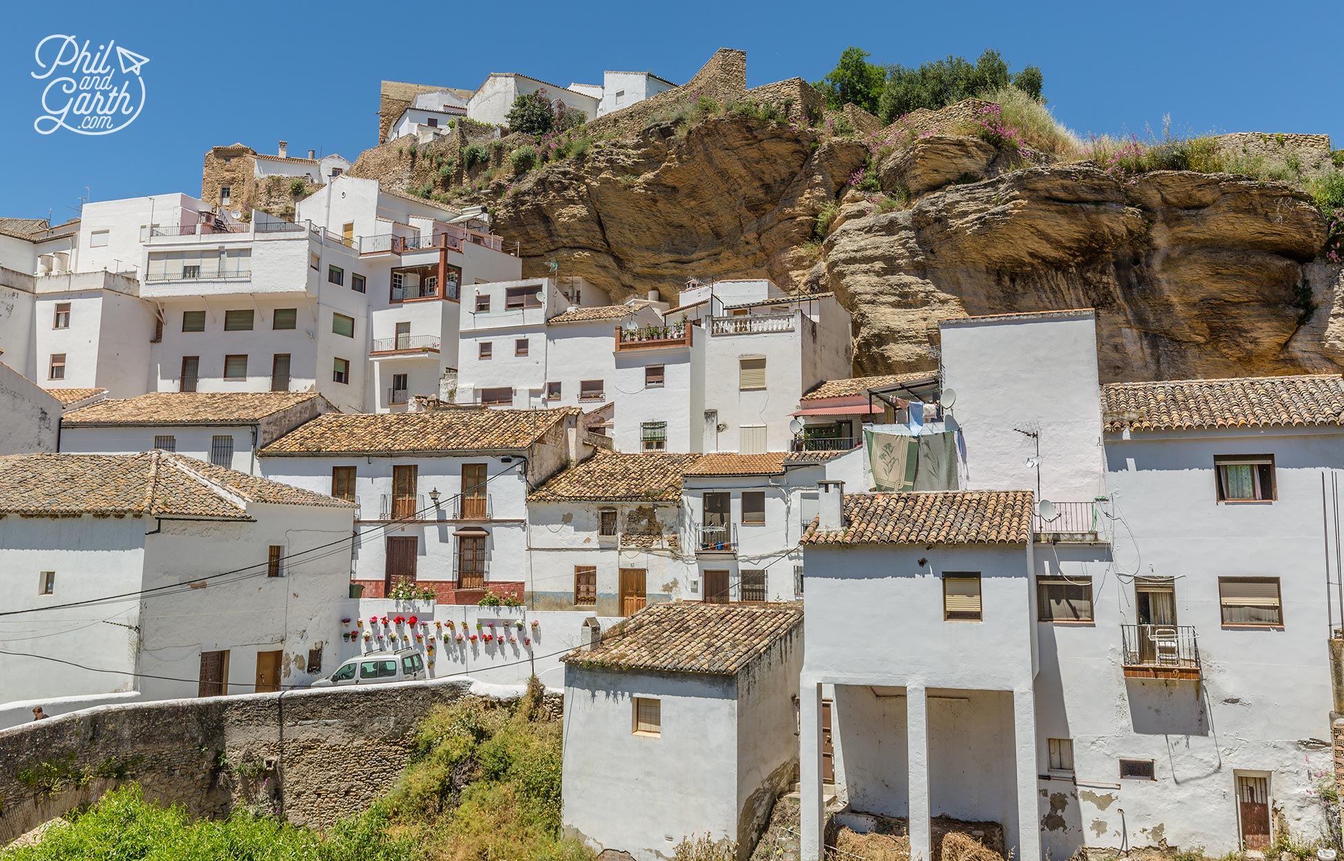 White washed homes in Setenil de las Bodegas