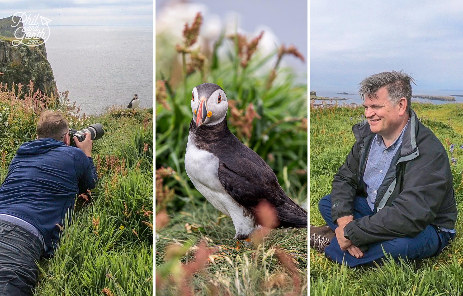 Garth photographing and Phil very happy watching the puffins