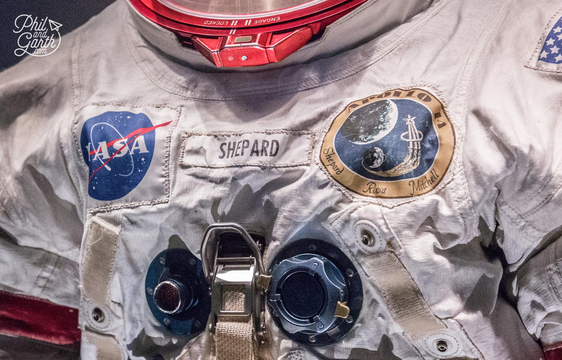 Close up of Alan Shepard's spacesuit still covered in moon dust