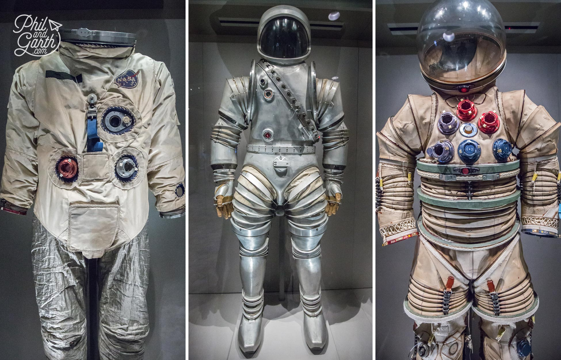 Actual spacesuits worn by astronauts on display in the Treasures Gallery