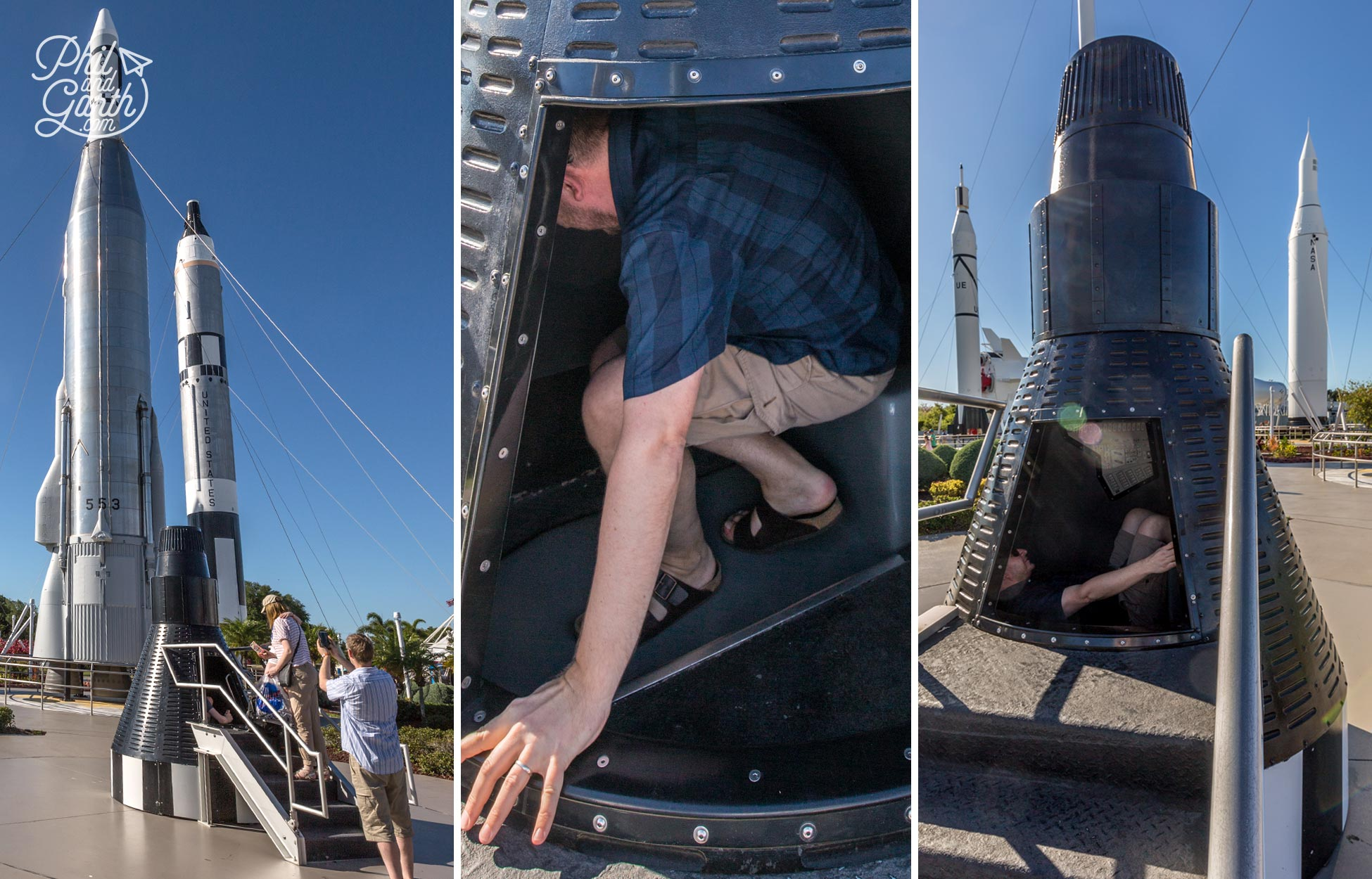 Garth checking out the Mercury capsule for size