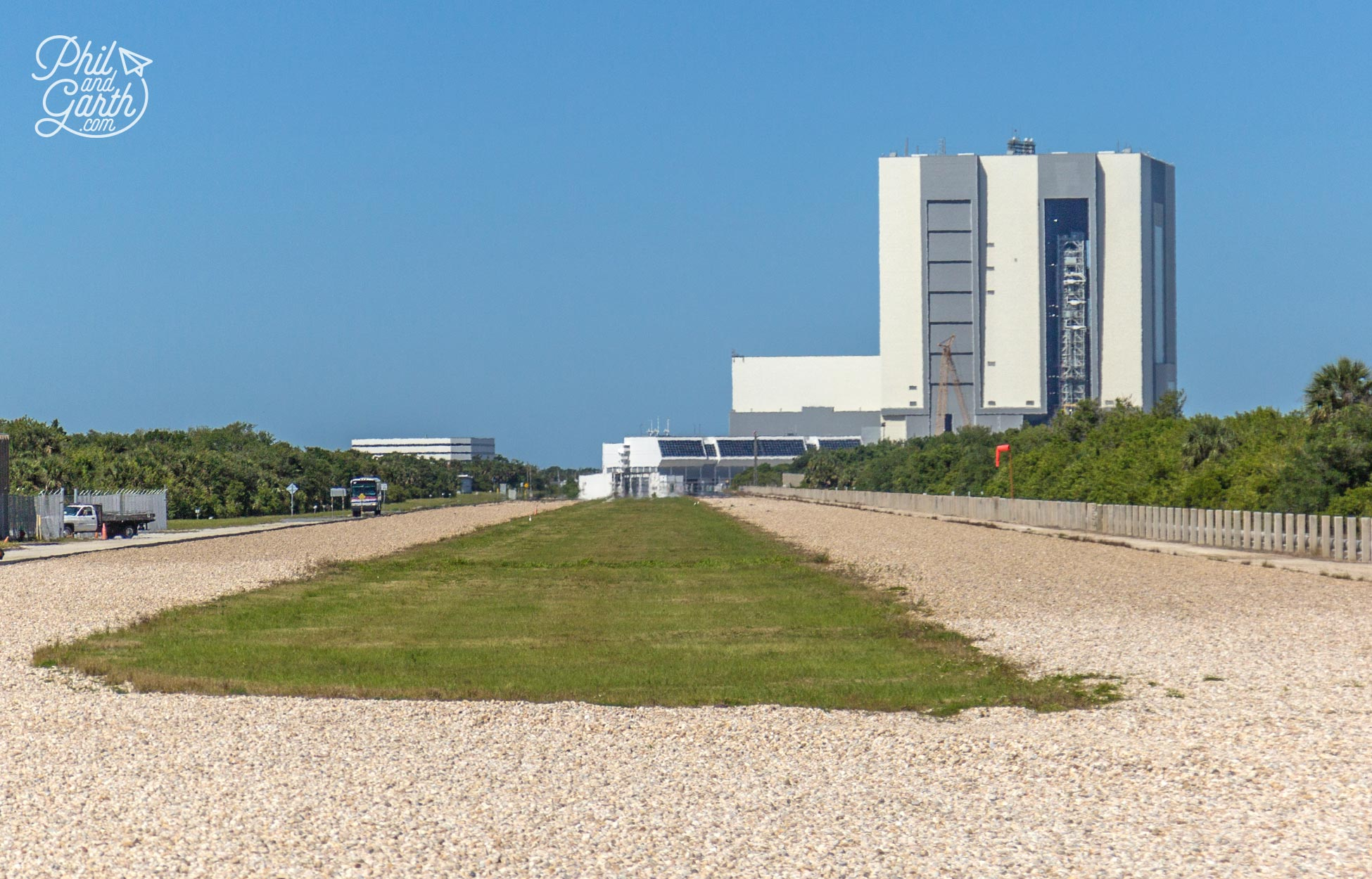View down 'Crawlerway' which connects the Vehicle Assembly building with launch pads 39A & 39B