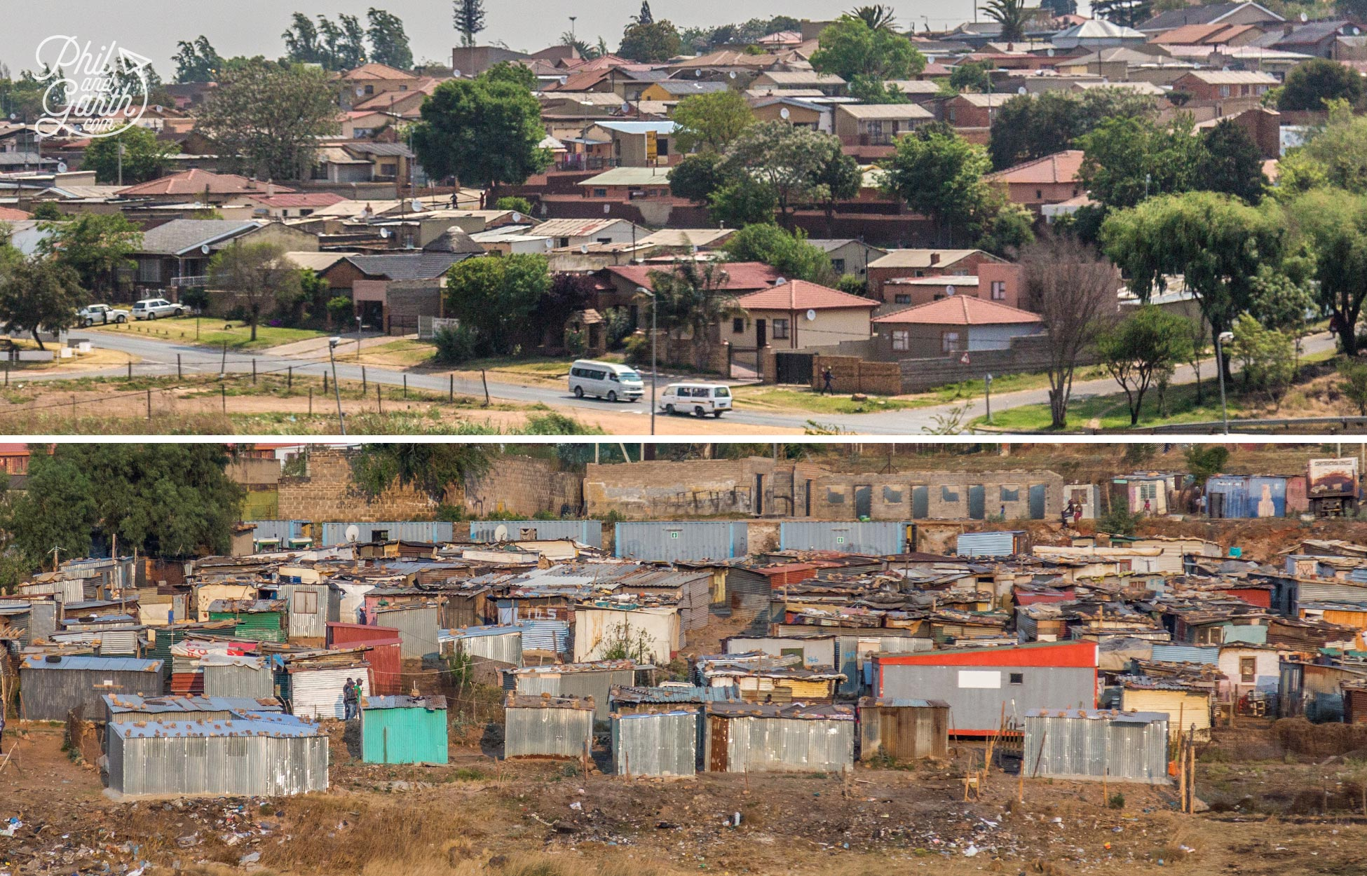 A common sight in Soweto affluent areas sit next to smaller townships