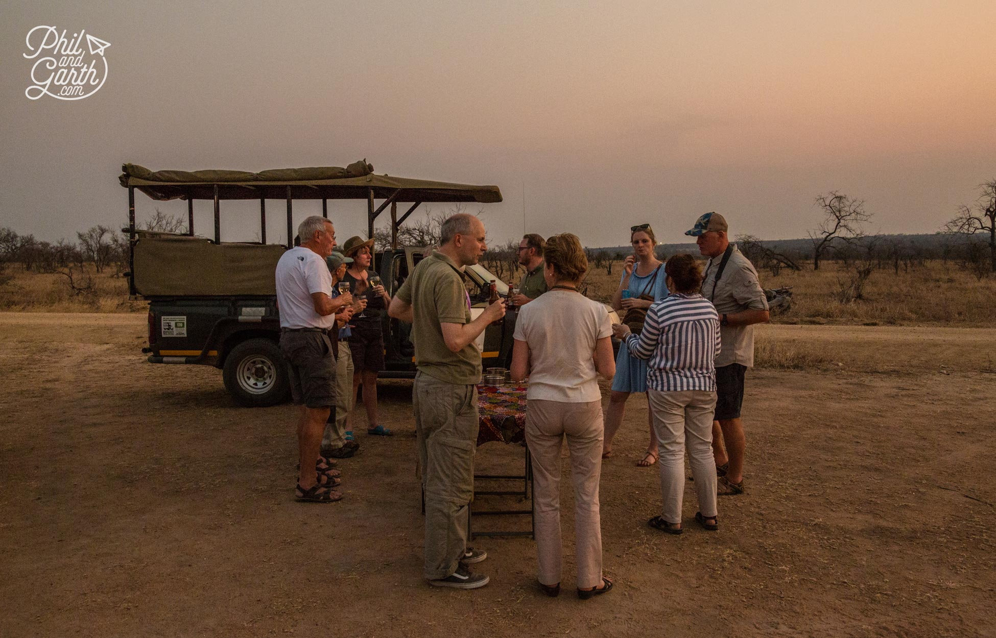 Beers, wine and snacks as the sun finally sets in Kruger