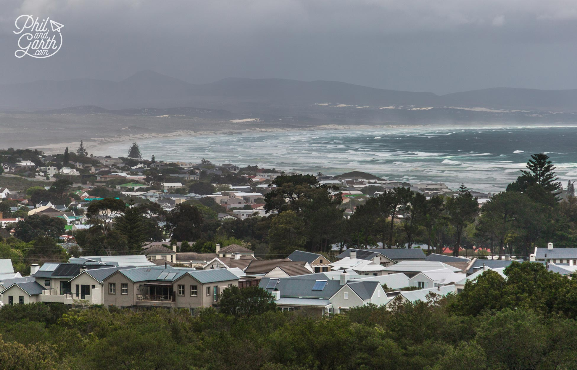 Great views across Hermanus and the bay even on a miserable day
