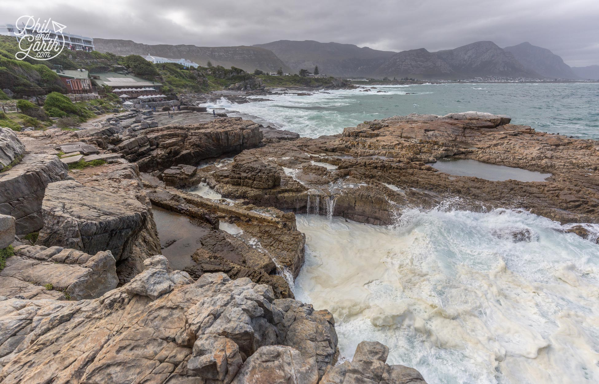 Hermanus Whale Watching - We loved watching the power of the waves next to the old harbour