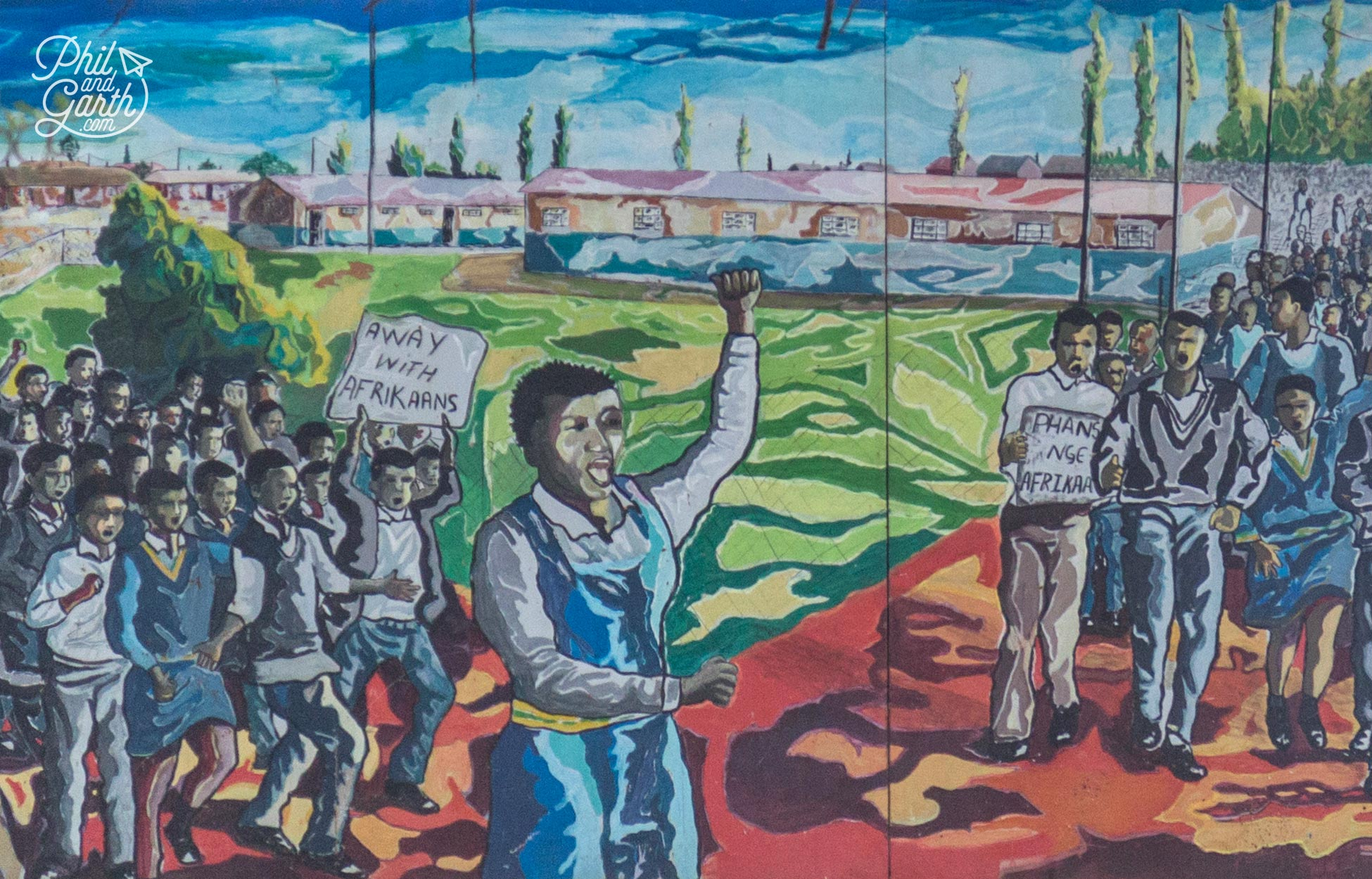 Marching for freedom - a mural depicts the scene of local schoolchildren