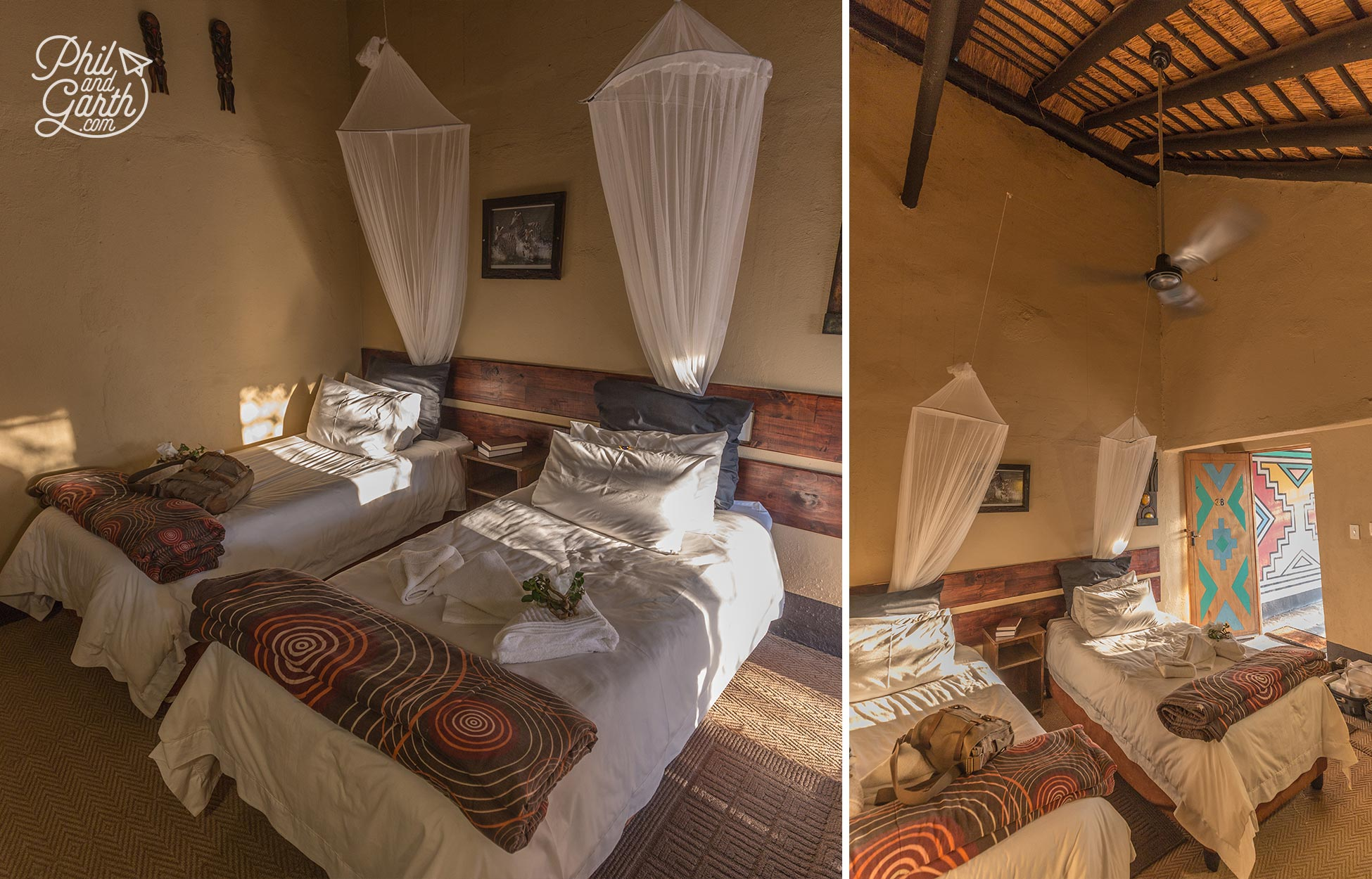 Inside our Timbavati room - No air-conditioning but there's a ceiling fan.