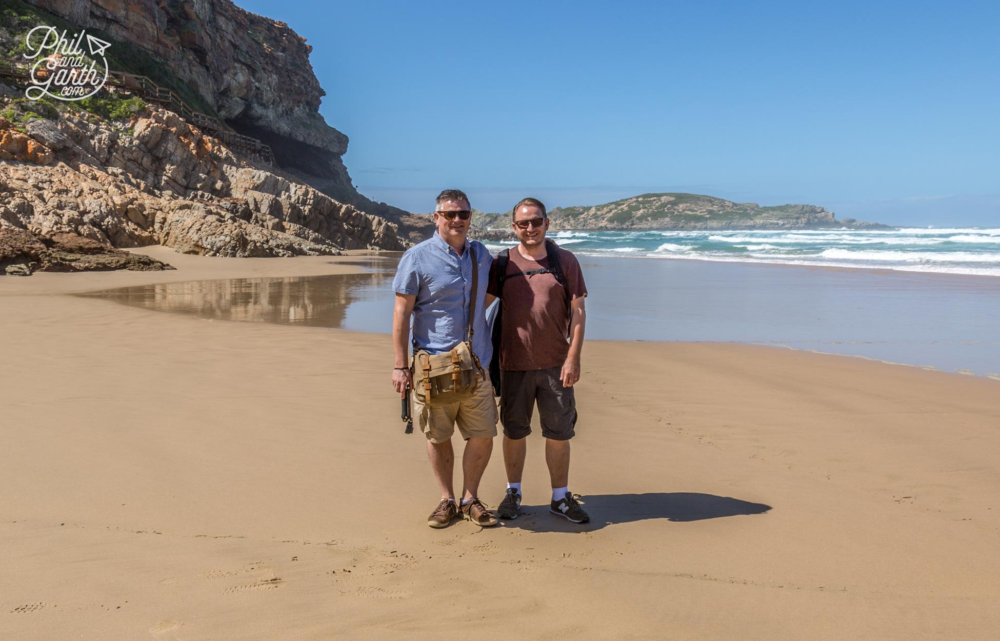The Garden Route - Phil and Garth on the beach at Robberg Nature Reserve