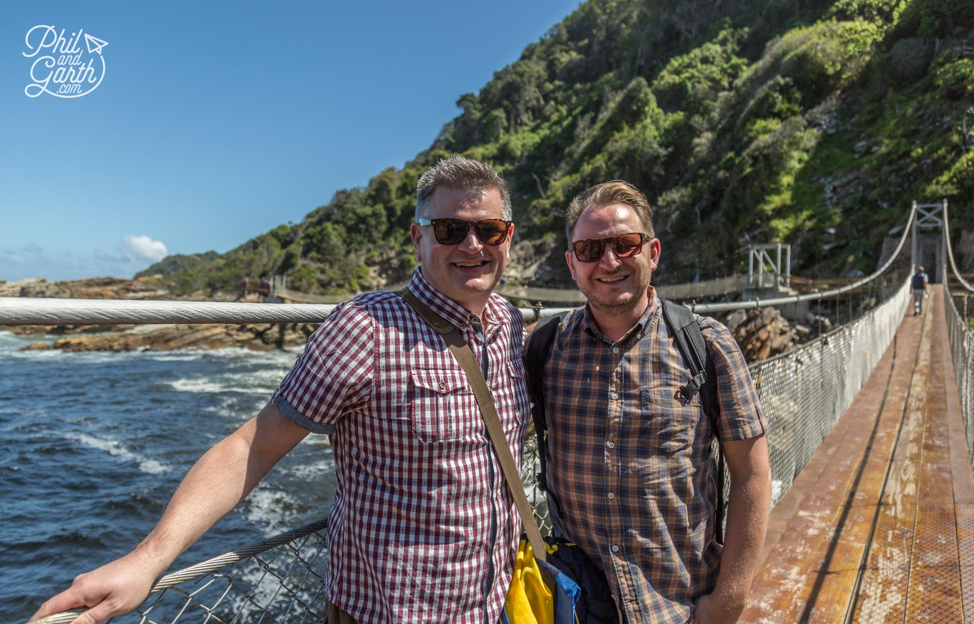 Phil and Garth on a suspension bridge at Tsitsikamma