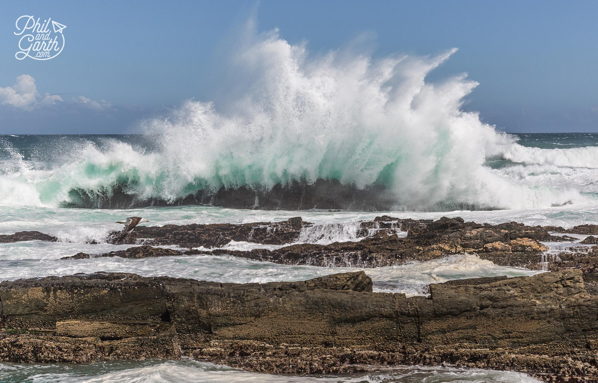 Tremendous power in the waves crashing against the rocks