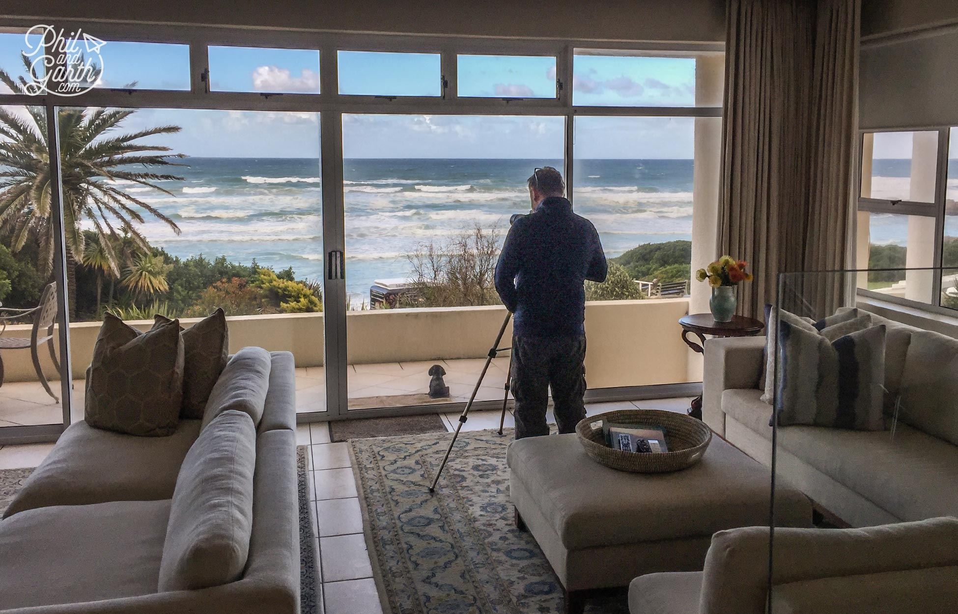 Hows this for a view! Garth spotting whales through a monocular at our hotel