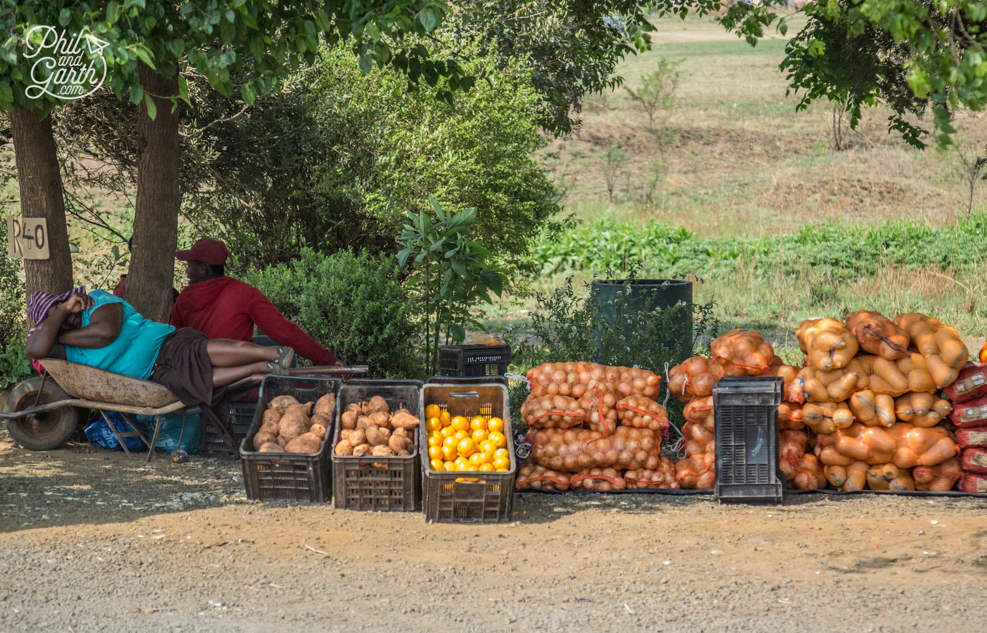 A lady takes time out from selling fruit, veg and macadamia nuts