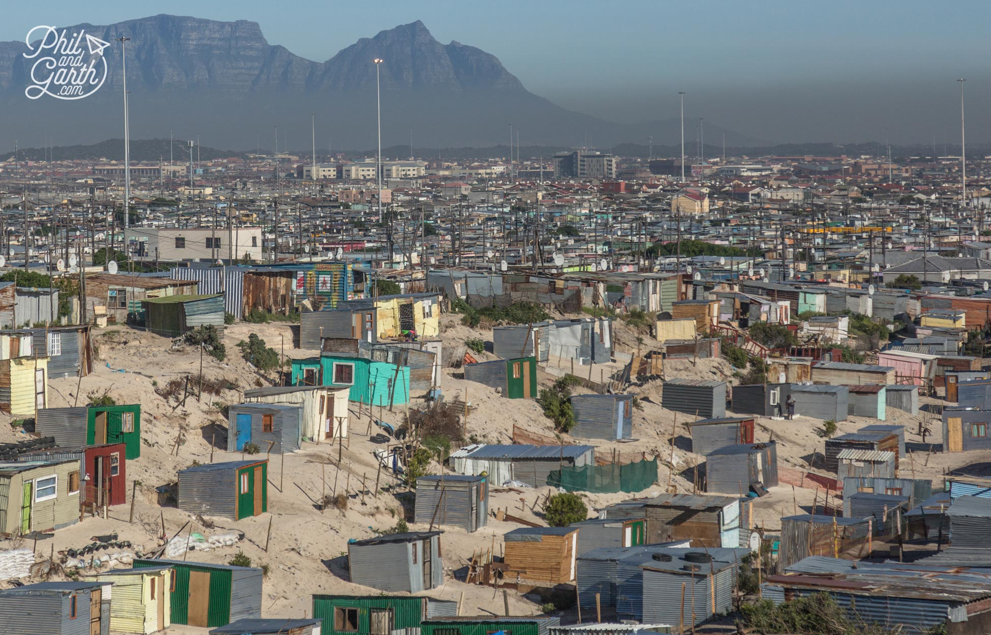 'The Flats' township outside Cape Town, look at that layer of smog!
