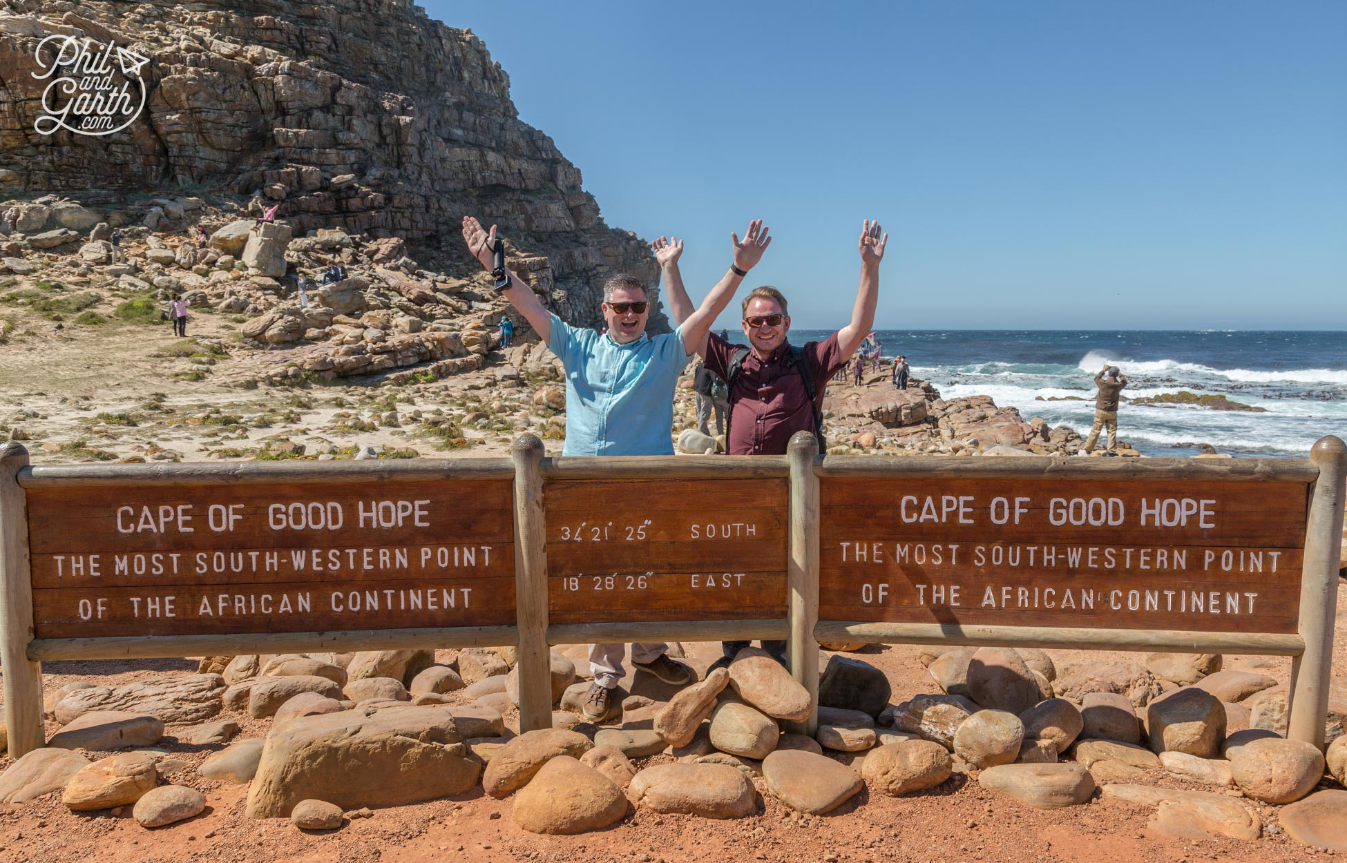 Phil and Garth at The Cape of Good Hope sign