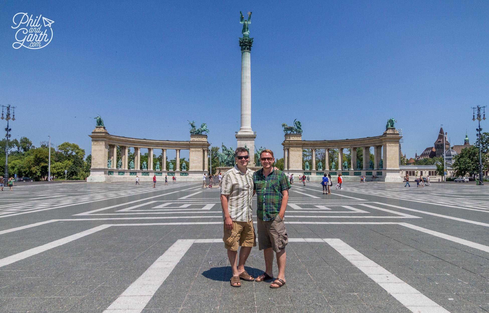Phil and Garth on Heroes Square, Budapest