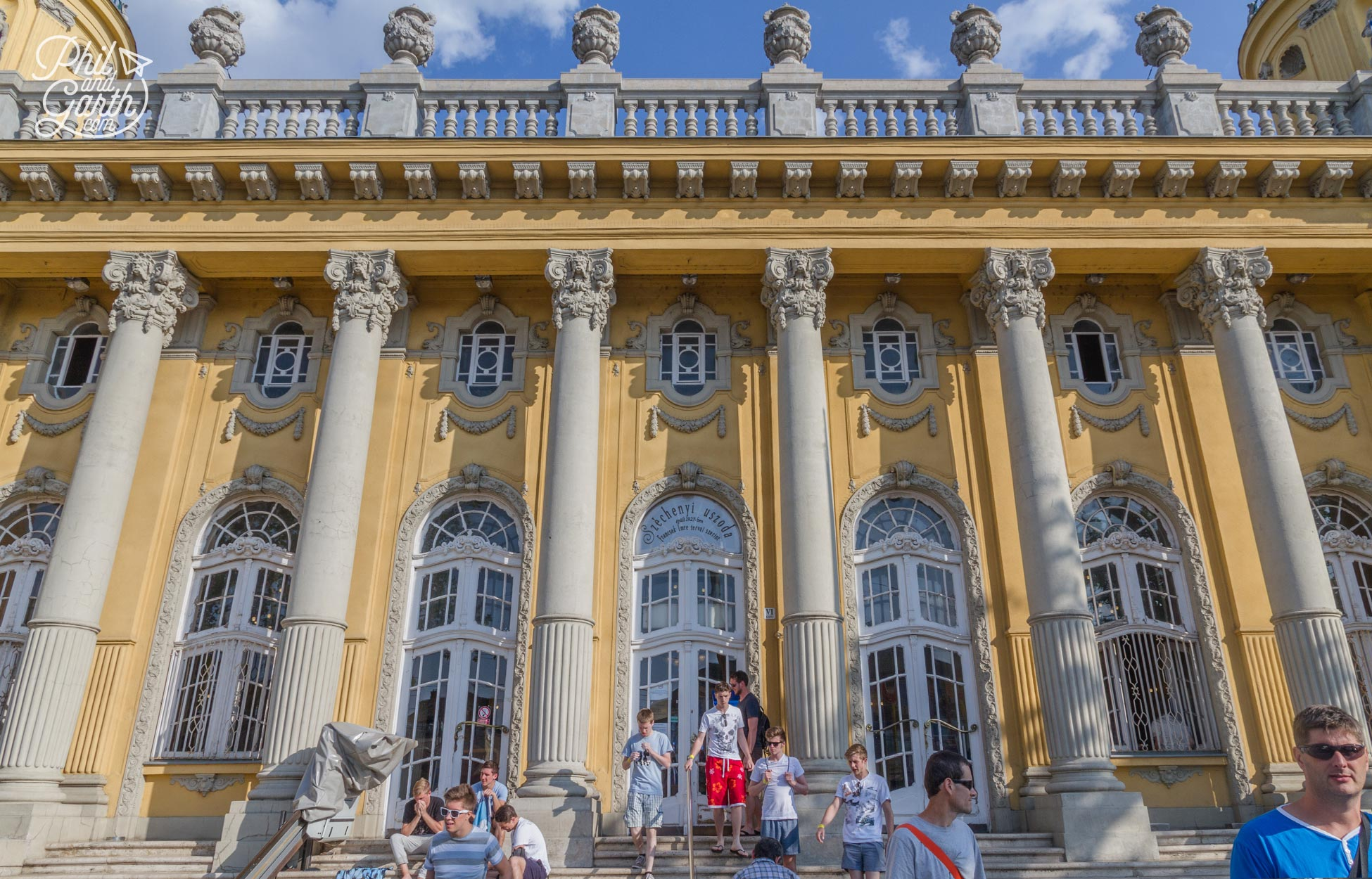 The grand entrance to The Széchenyi Baths and Spa