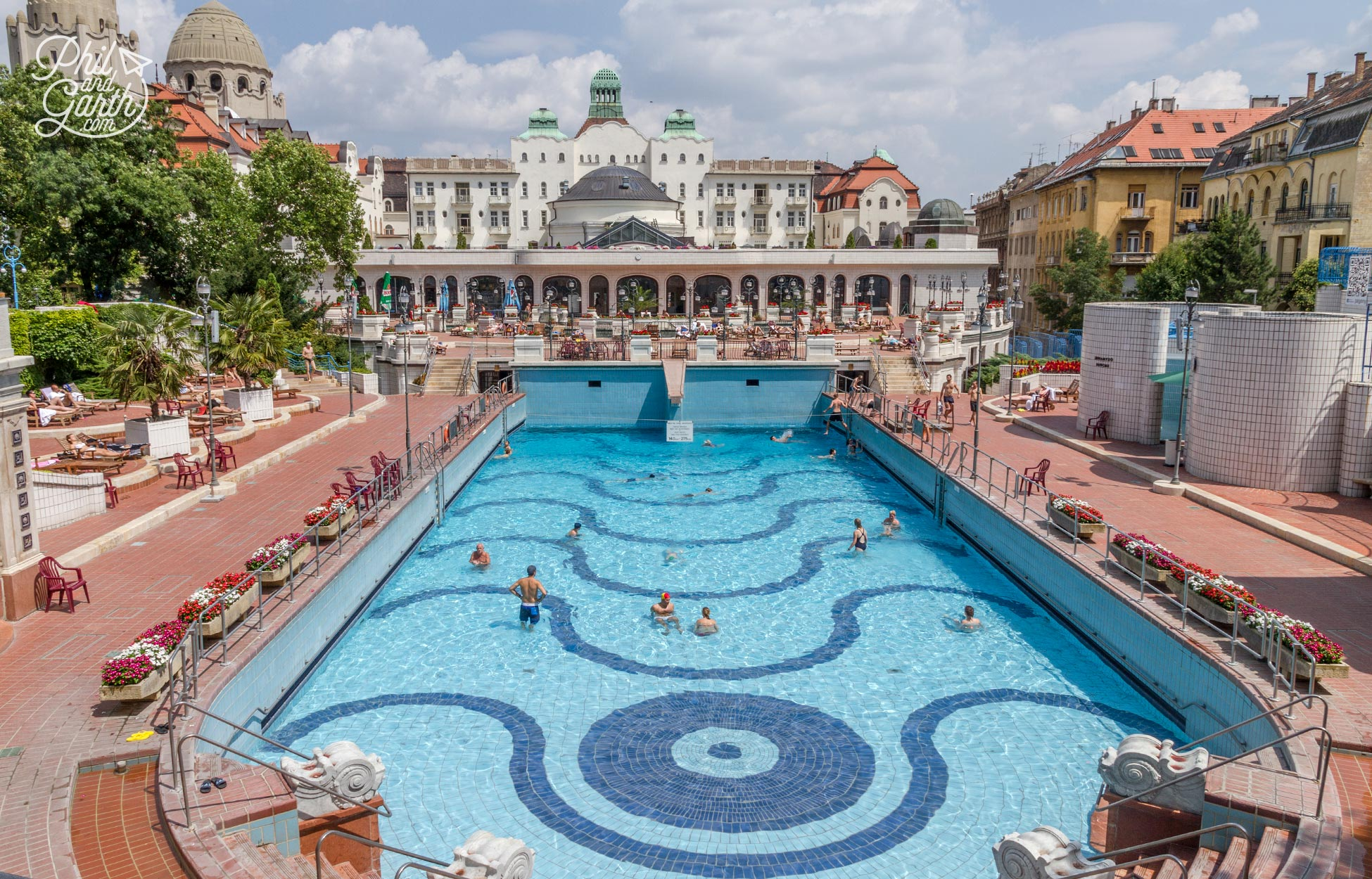 The outdoor thermal wave pool at The Gellert Spa
