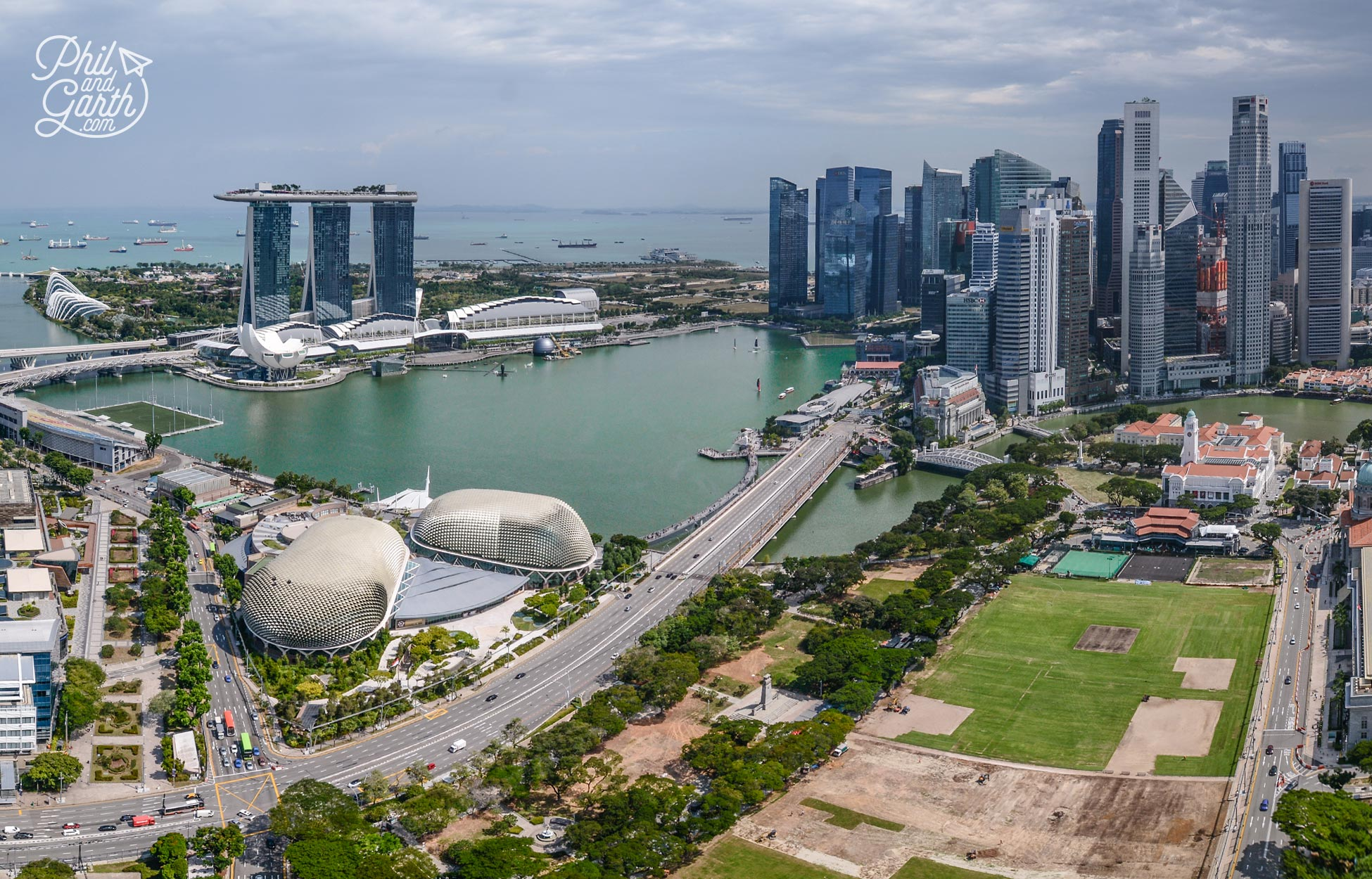An aerial view of Singapore's Marina Bay