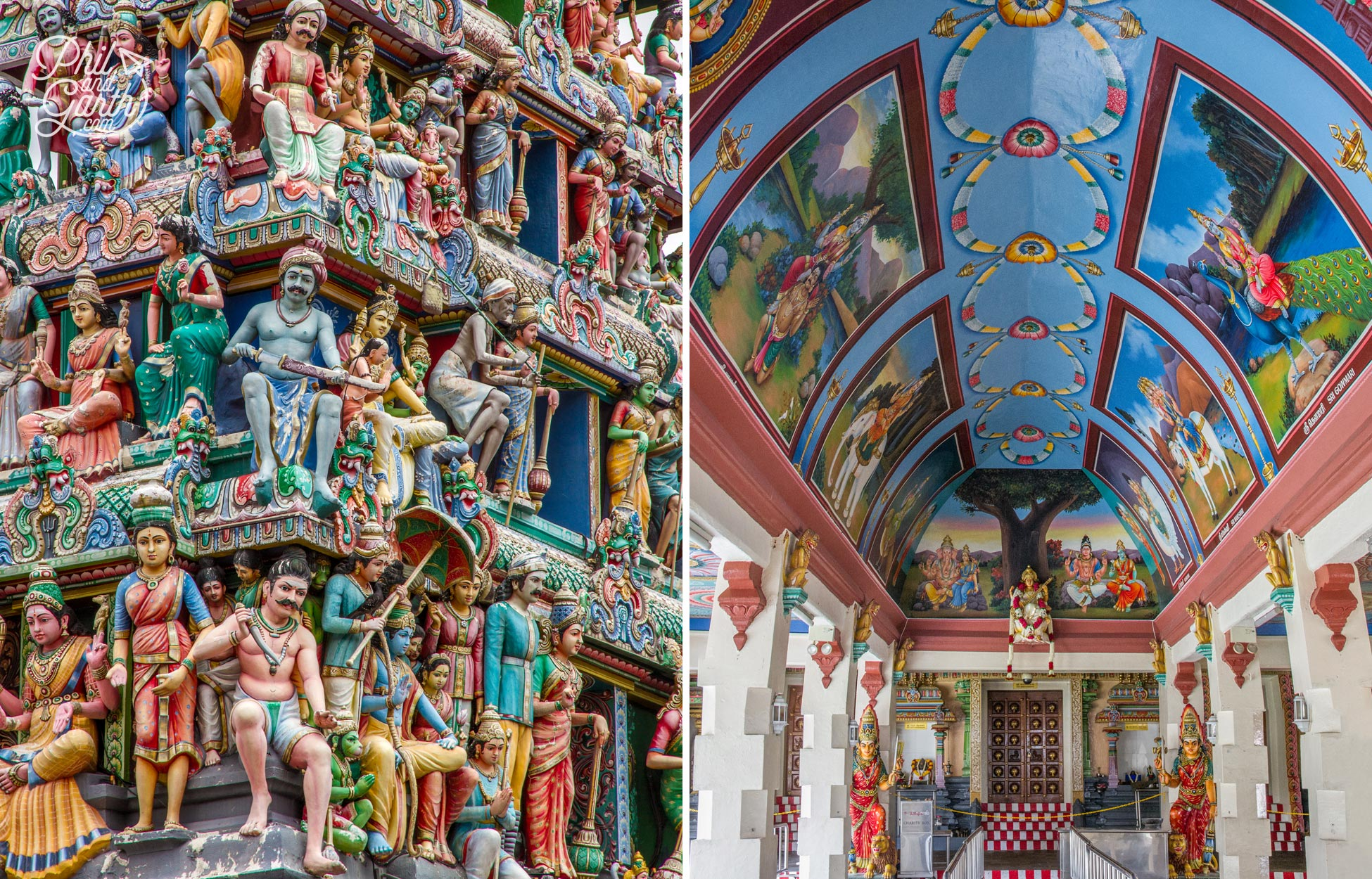 Bursting with colour inside the Sri Mariamman Temple