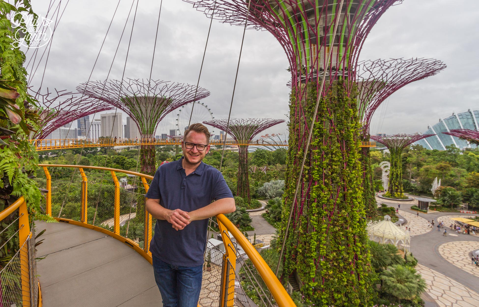 Garth on the Supertree Skyway - There's a small charge to walk up high