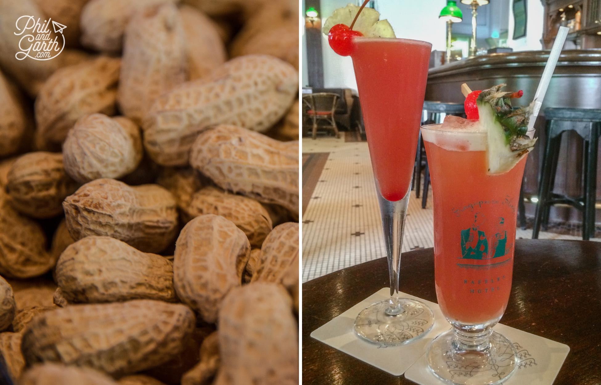 Peanuts and our pricey but worth it Singapore Slings at Raffles