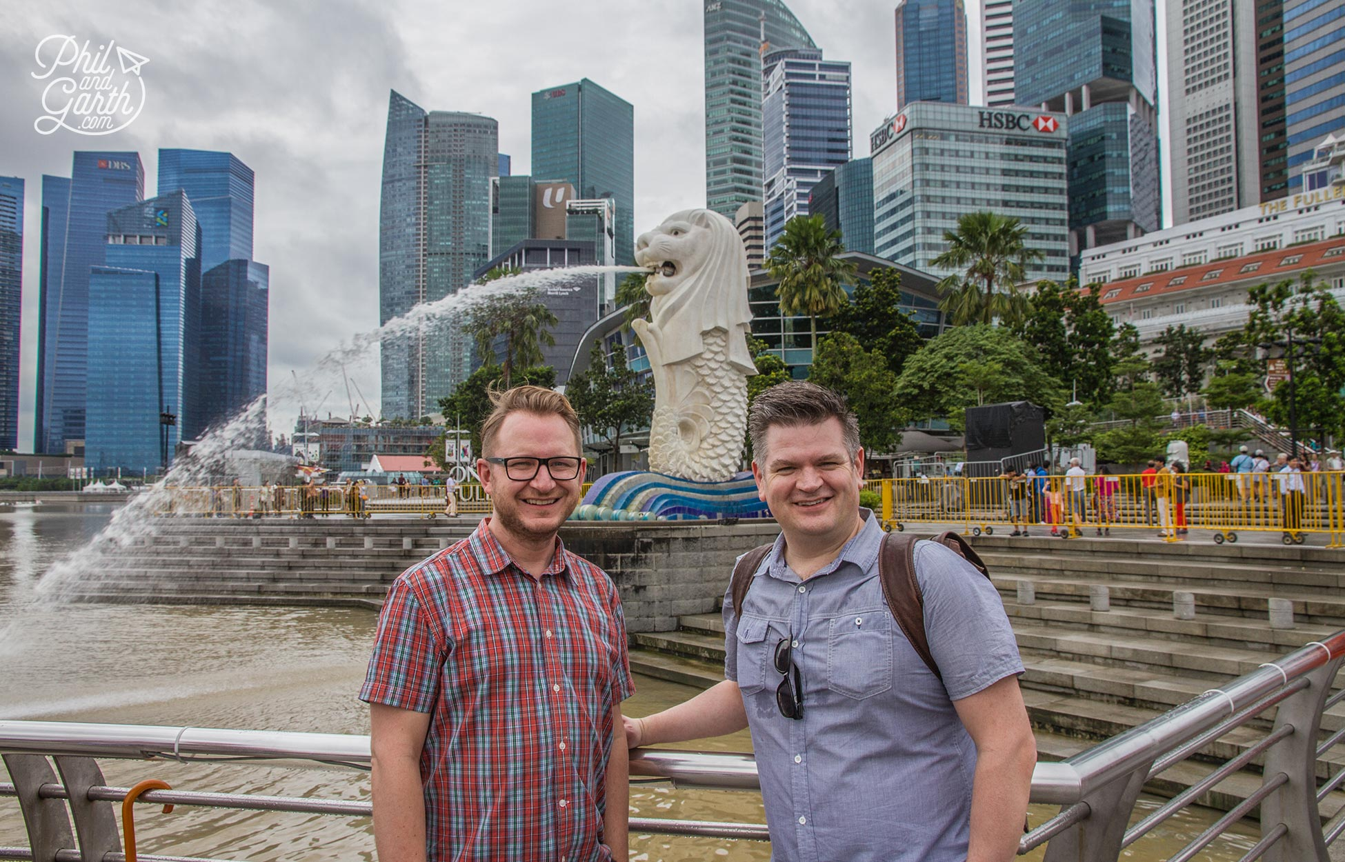 Garth and Phil at Merlion Park