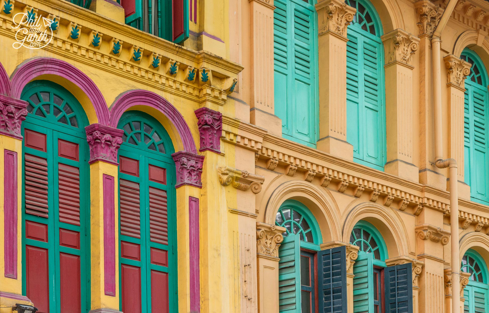 Shophouses come in all sorts of colours