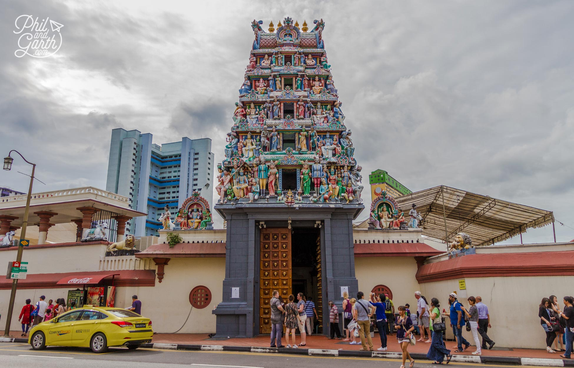 The impressive ornate gate of Sri Mariamman Temple
