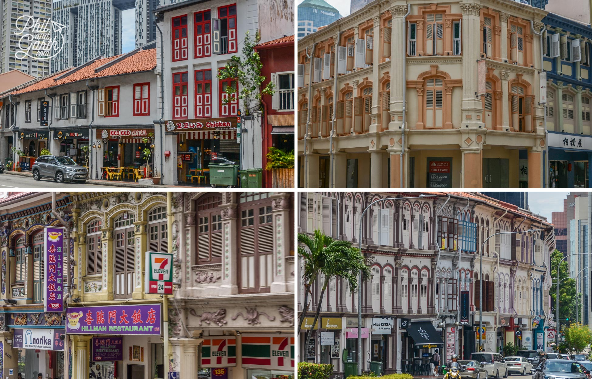 Various architectural styles of shophouses in Singapore