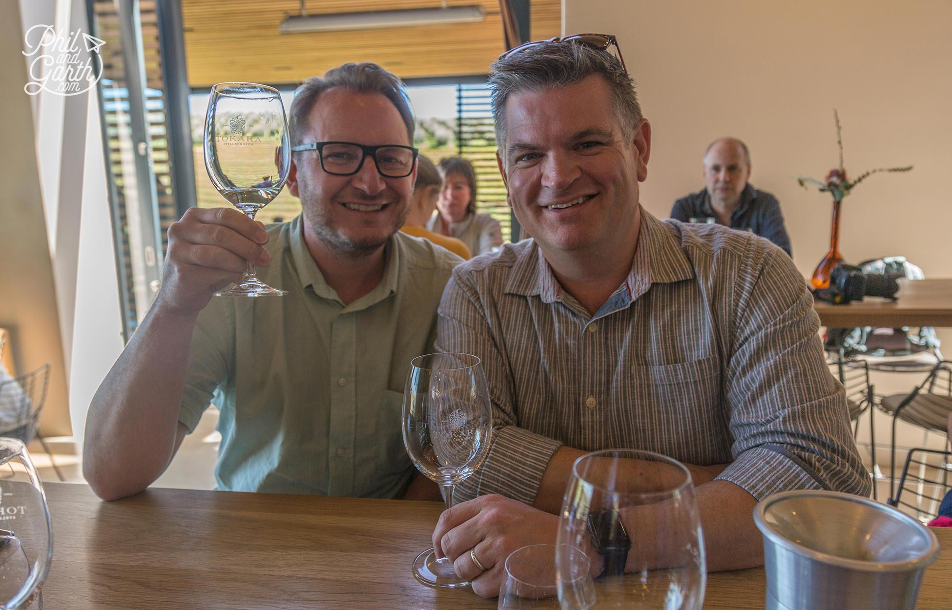 Garth and Phil enjoying the wine tasting at Tokara