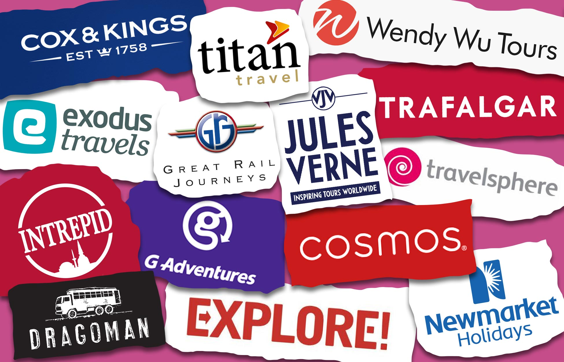 A selection of logos from the best small group tour companies & providers for booking an escorted tour.