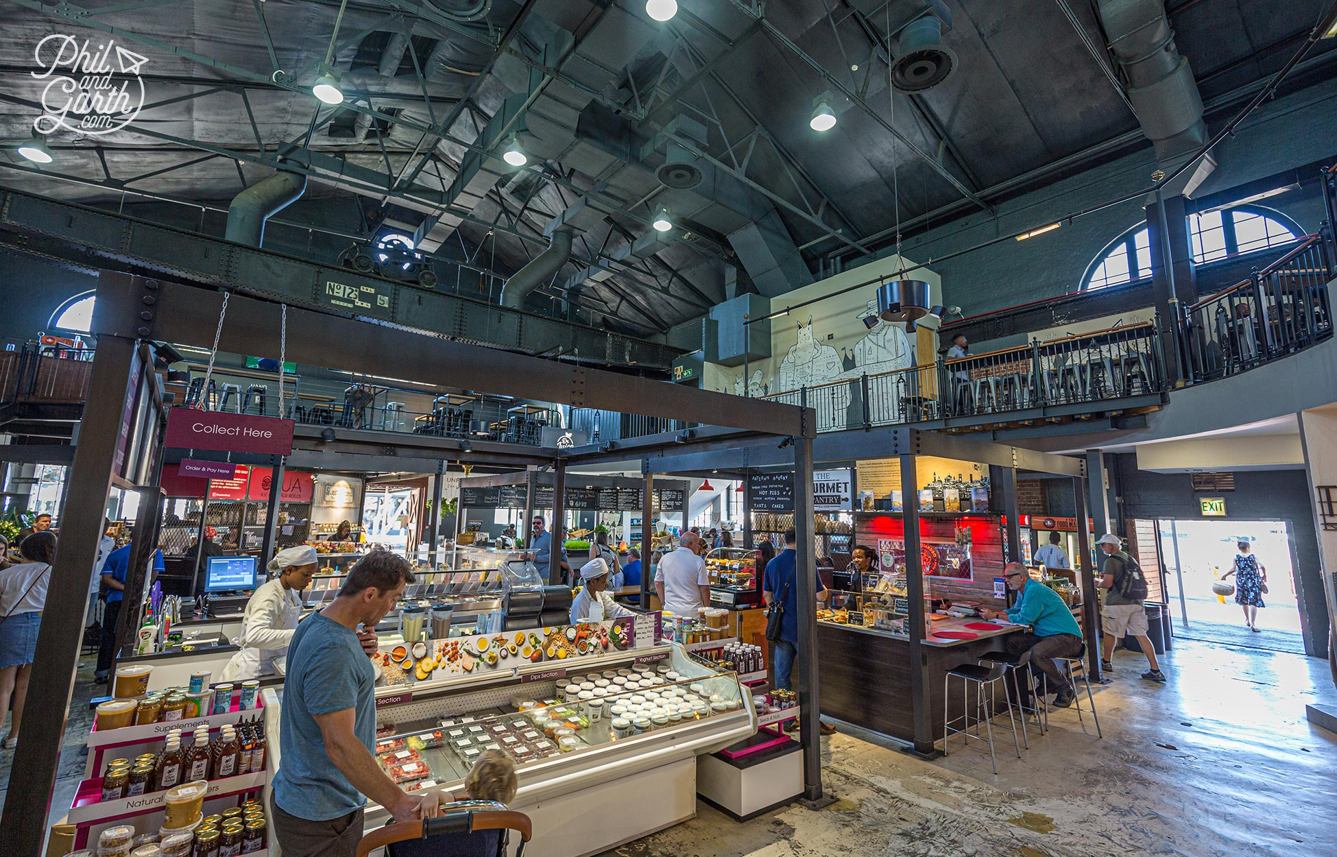 Inside the V&A Food Market - There's over 40 tenants offering affordable food