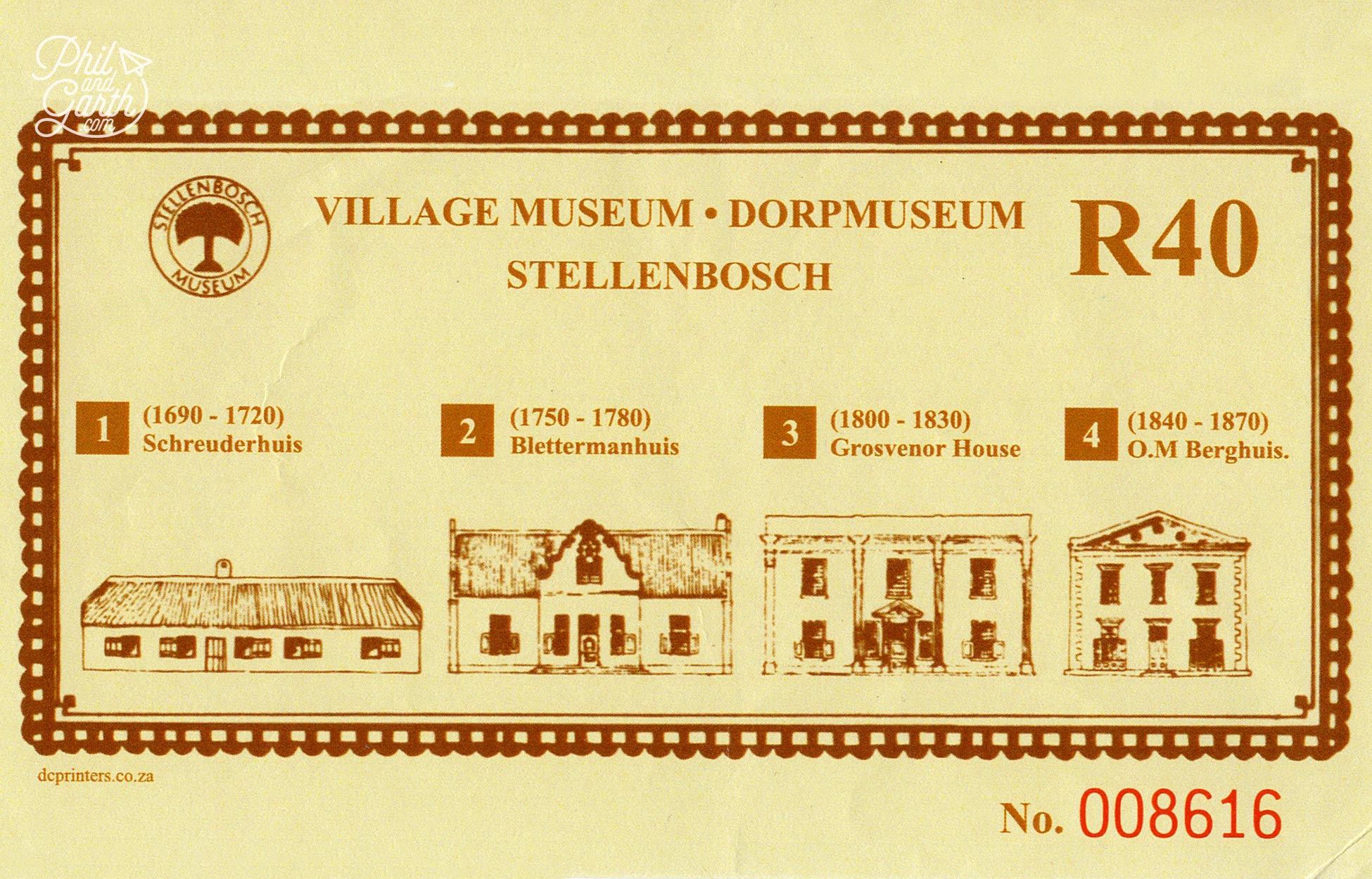 The ticket shows the exterior profile of house