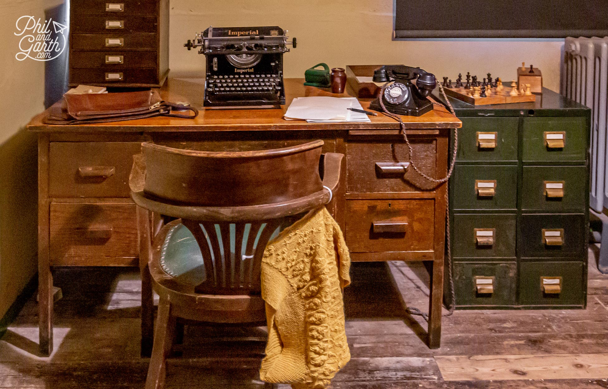 A desk is dressed inside Hut 6 as it would have been during the war