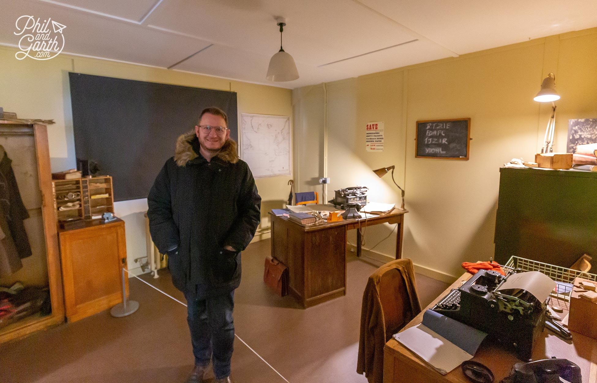 Garth inside Alan Turing's office, Hut 8