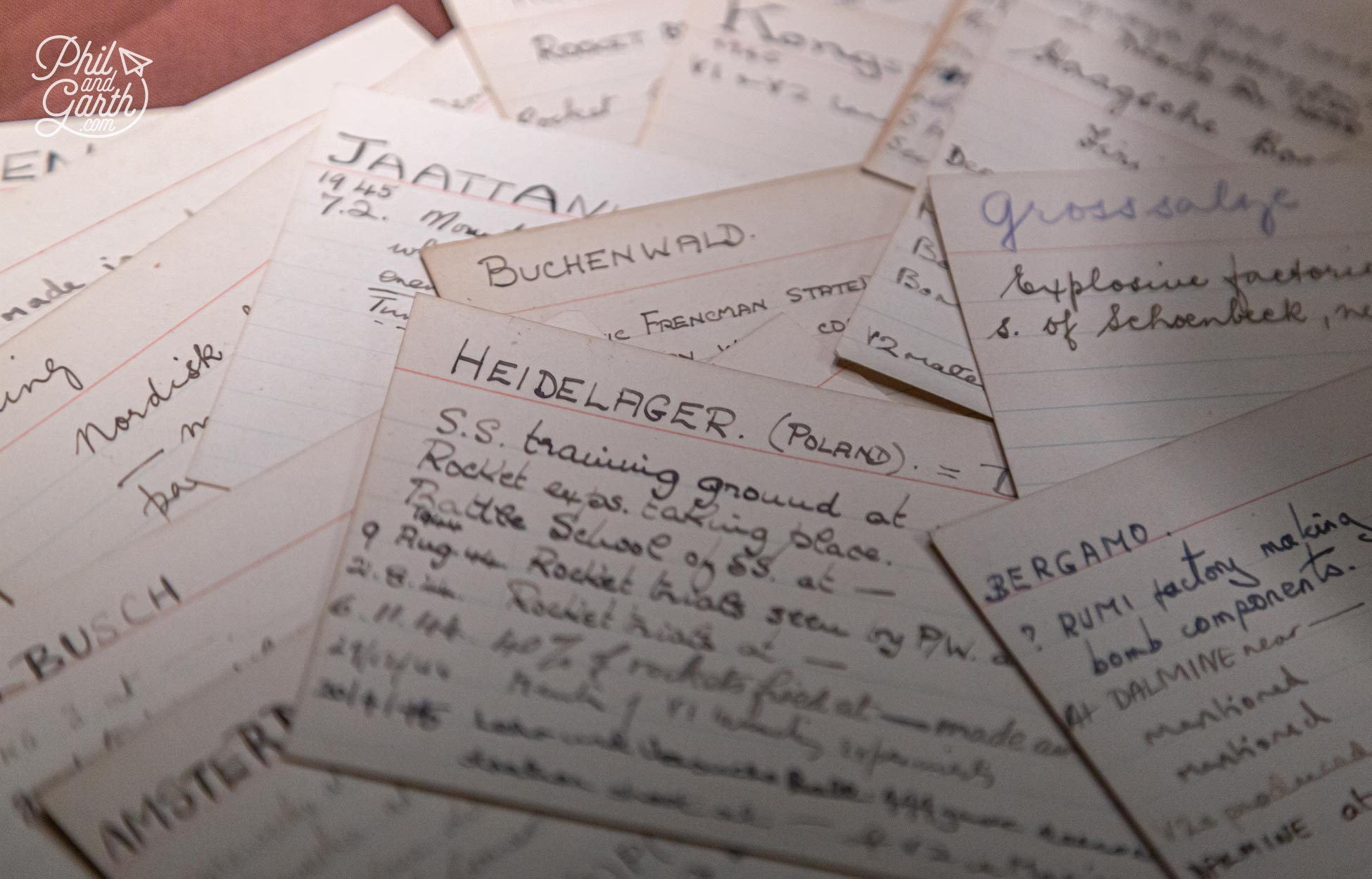 Index cards were used to cross reference messages