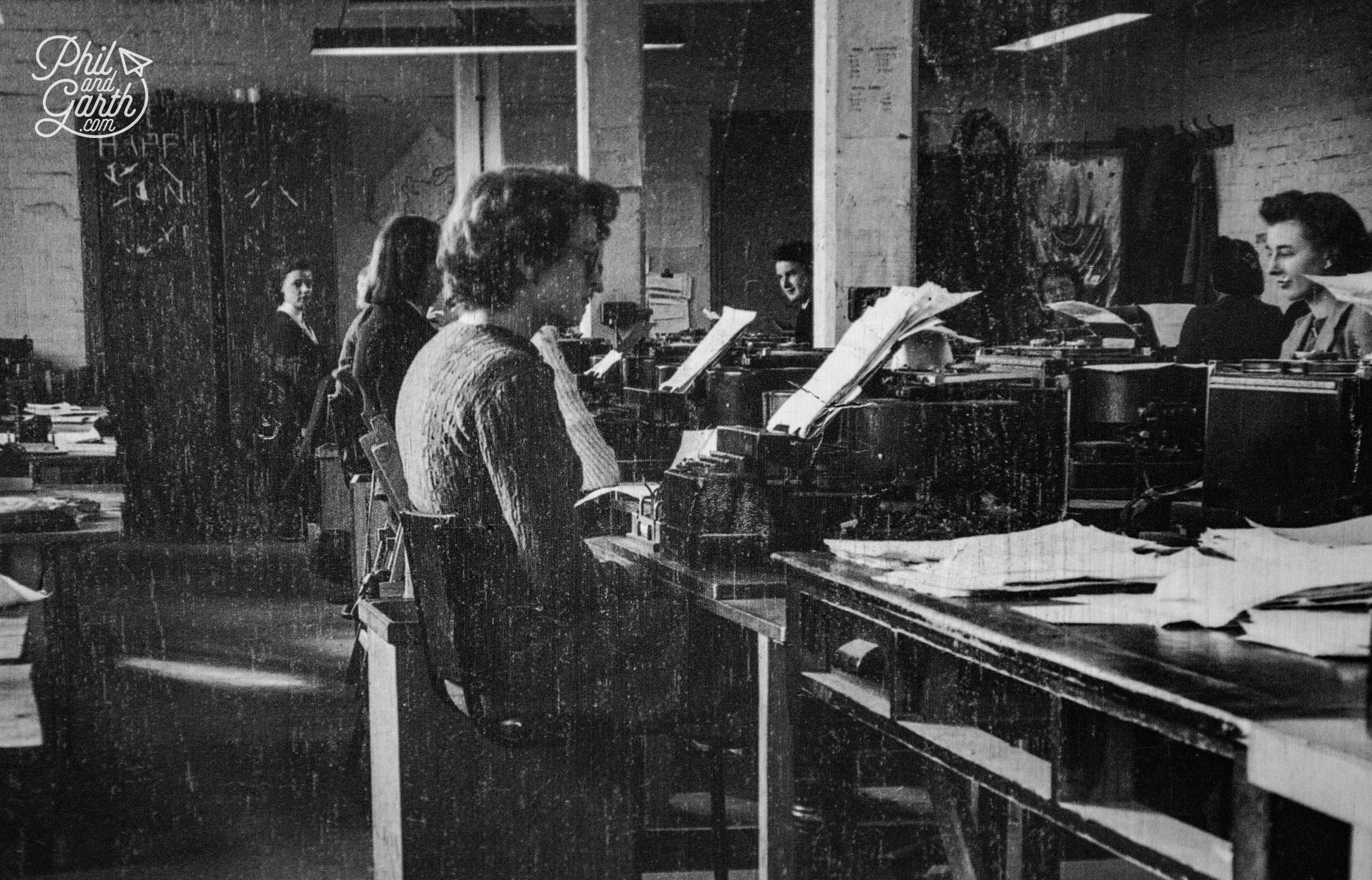 Inside Hut 6 deciphering messages on Typex machines