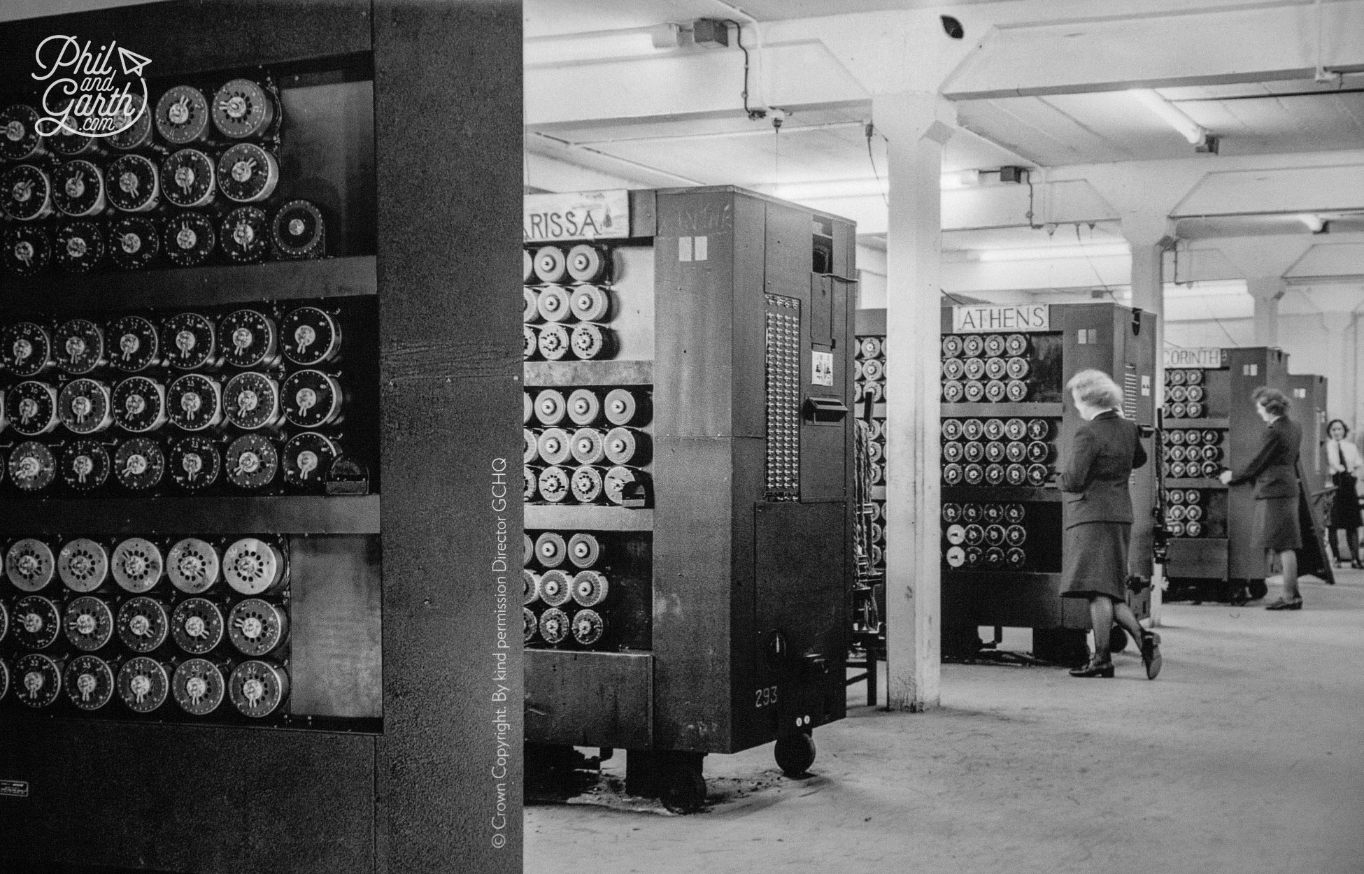 Inside Hut 11 which housed the first Bombe machines