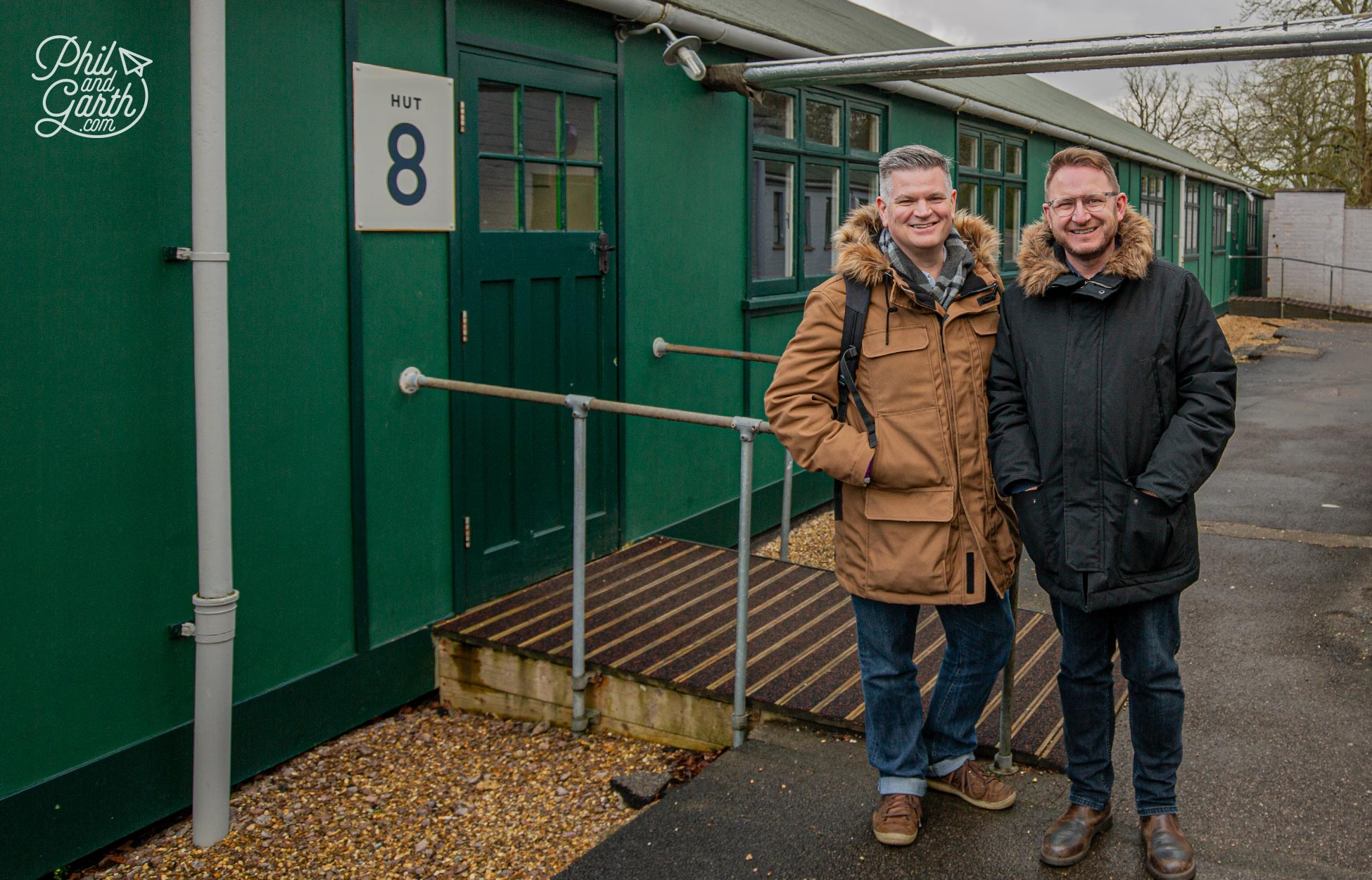 Phil and Garth outside Hut 8 where Alan Turing had his office