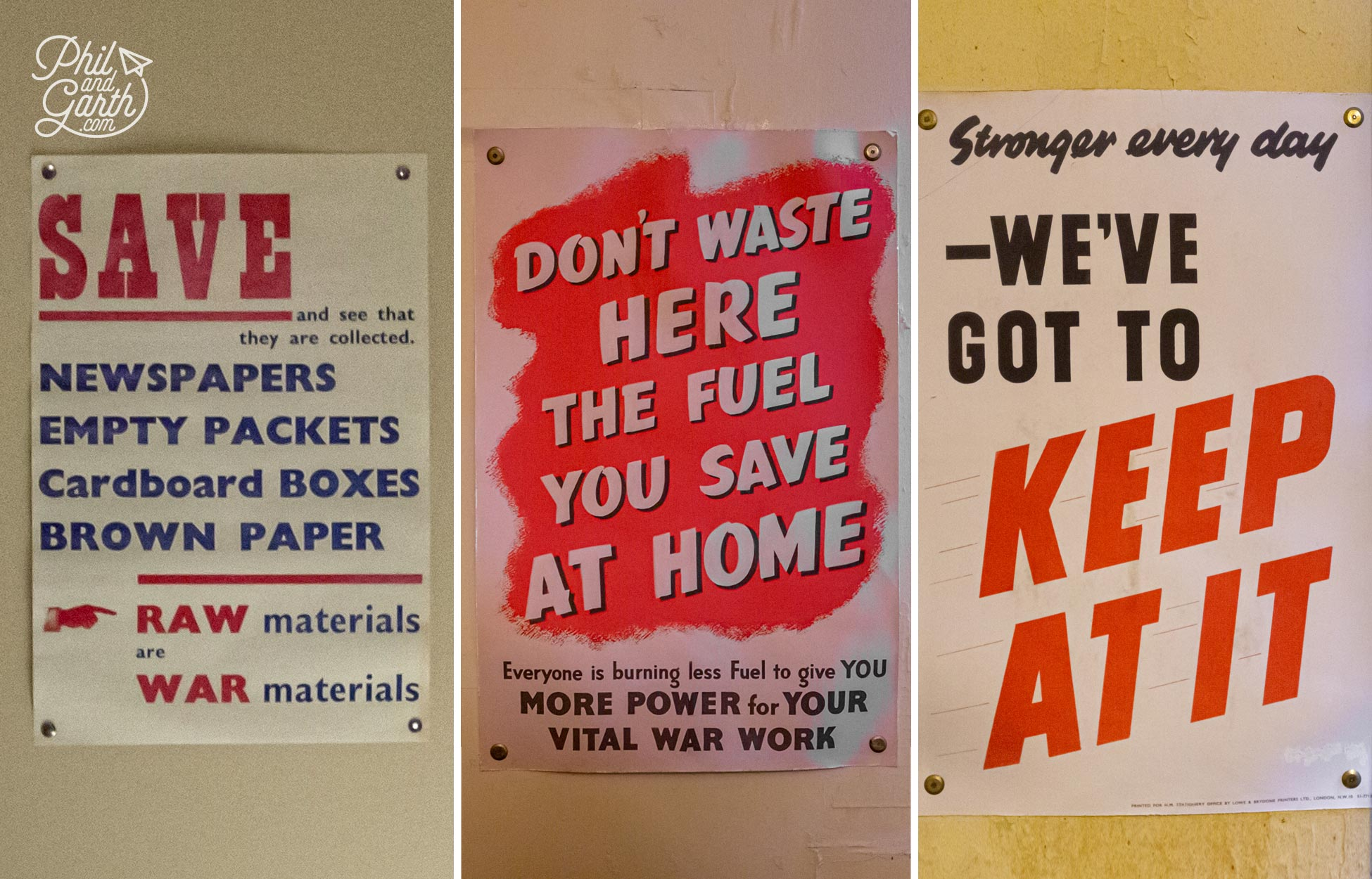 Old World War 2 posters on display